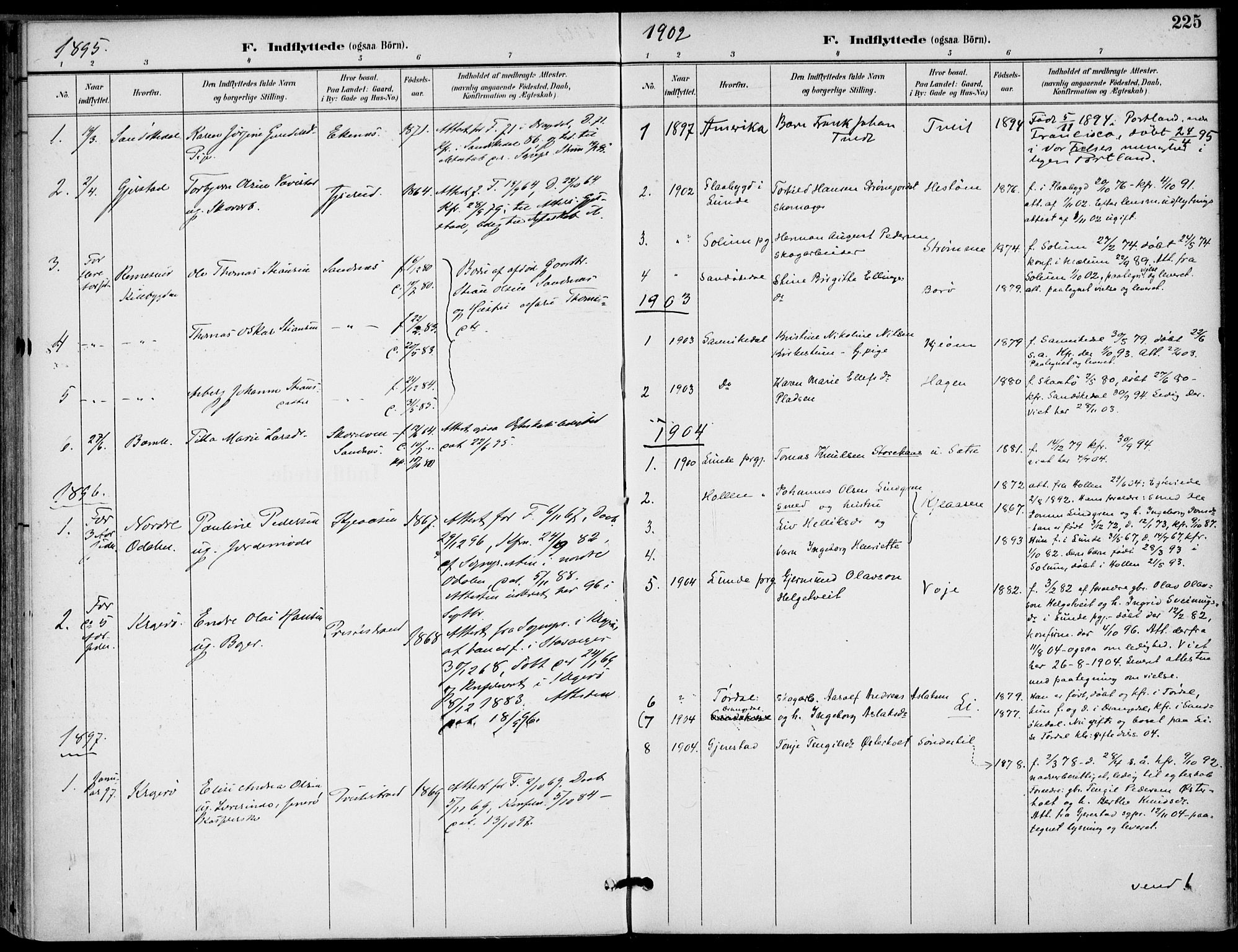 SAKO, Drangedal kirkebøker, F/Fa/L0012: Ministerialbok nr. 12, 1895-1905, s. 225