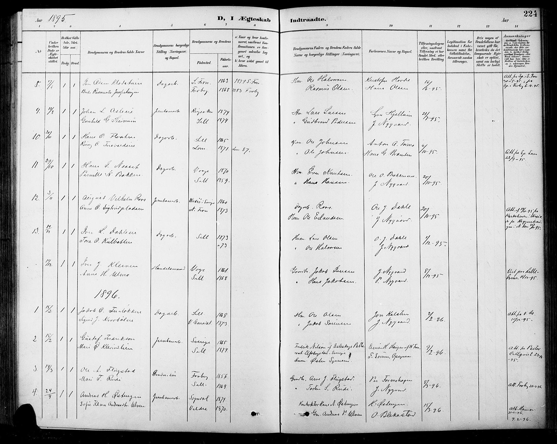 SAH, Sel prestekontor, Klokkerbok nr. 1, 1894-1923, s. 224