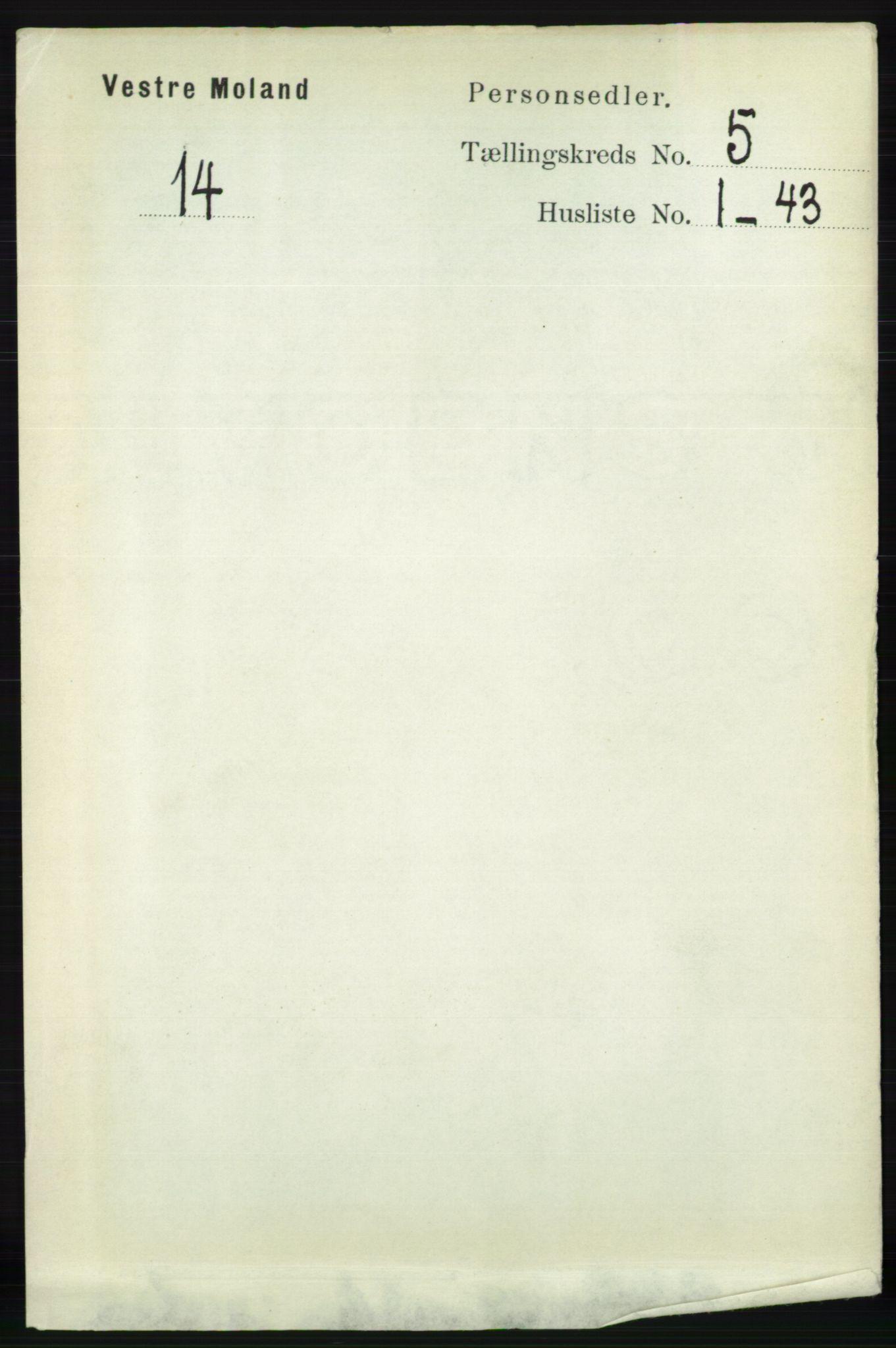 RA, Folketelling 1891 for 0926 Vestre Moland herred, 1891, s. 1842