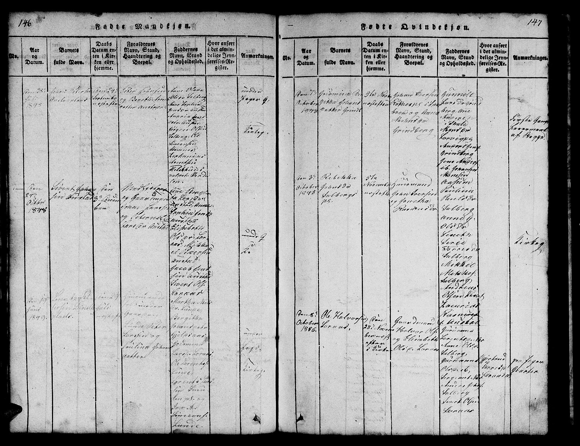 SAT, Ministerialprotokoller, klokkerbøker og fødselsregistre - Nord-Trøndelag, 731/L0310: Klokkerbok nr. 731C01, 1816-1874, s. 146-147
