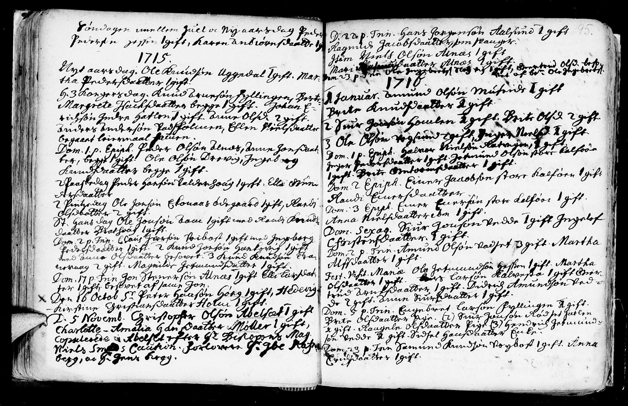 SAT, Ministerialprotokoller, klokkerbøker og fødselsregistre - Møre og Romsdal, 528/L0390: Ministerialbok nr. 528A01, 1698-1739, s. 94-95