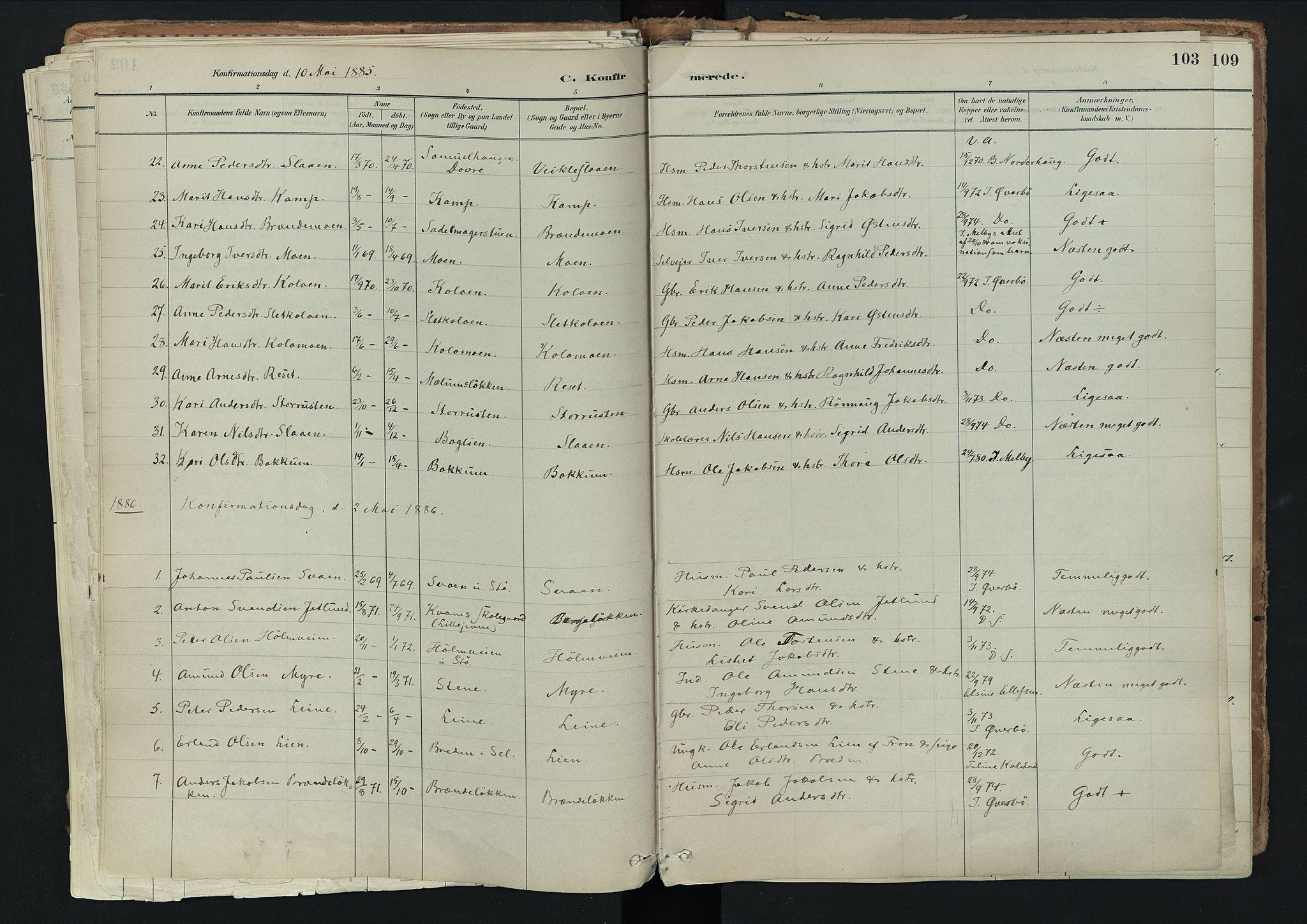 SAH, Nord-Fron prestekontor, Ministerialbok nr. 3, 1884-1914, s. 103