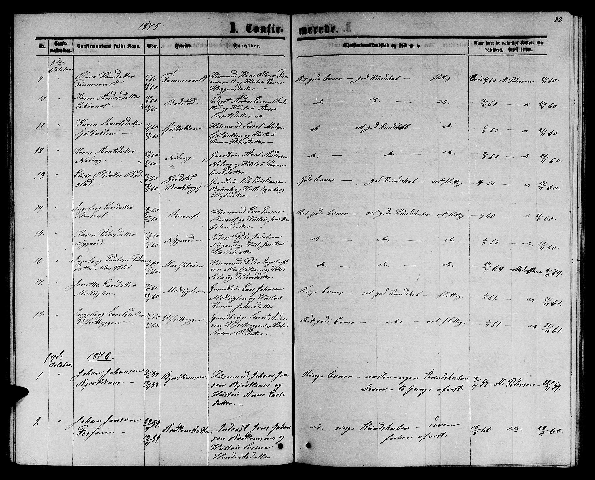 SAT, Ministerialprotokoller, klokkerbøker og fødselsregistre - Sør-Trøndelag, 618/L0451: Klokkerbok nr. 618C02, 1865-1883, s. 88