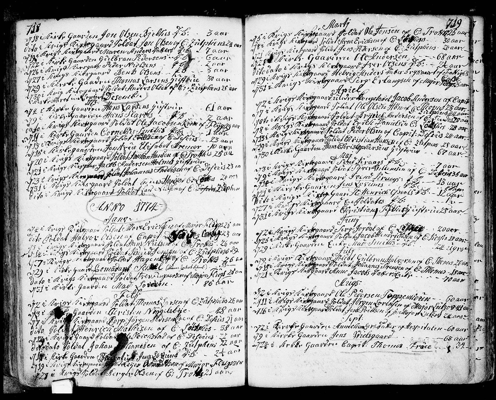SAO, Fredrikstad prestekontor Kirkebøker, F/Fa/L0002: Ministerialbok nr. 2, 1750-1804, s. 718-719