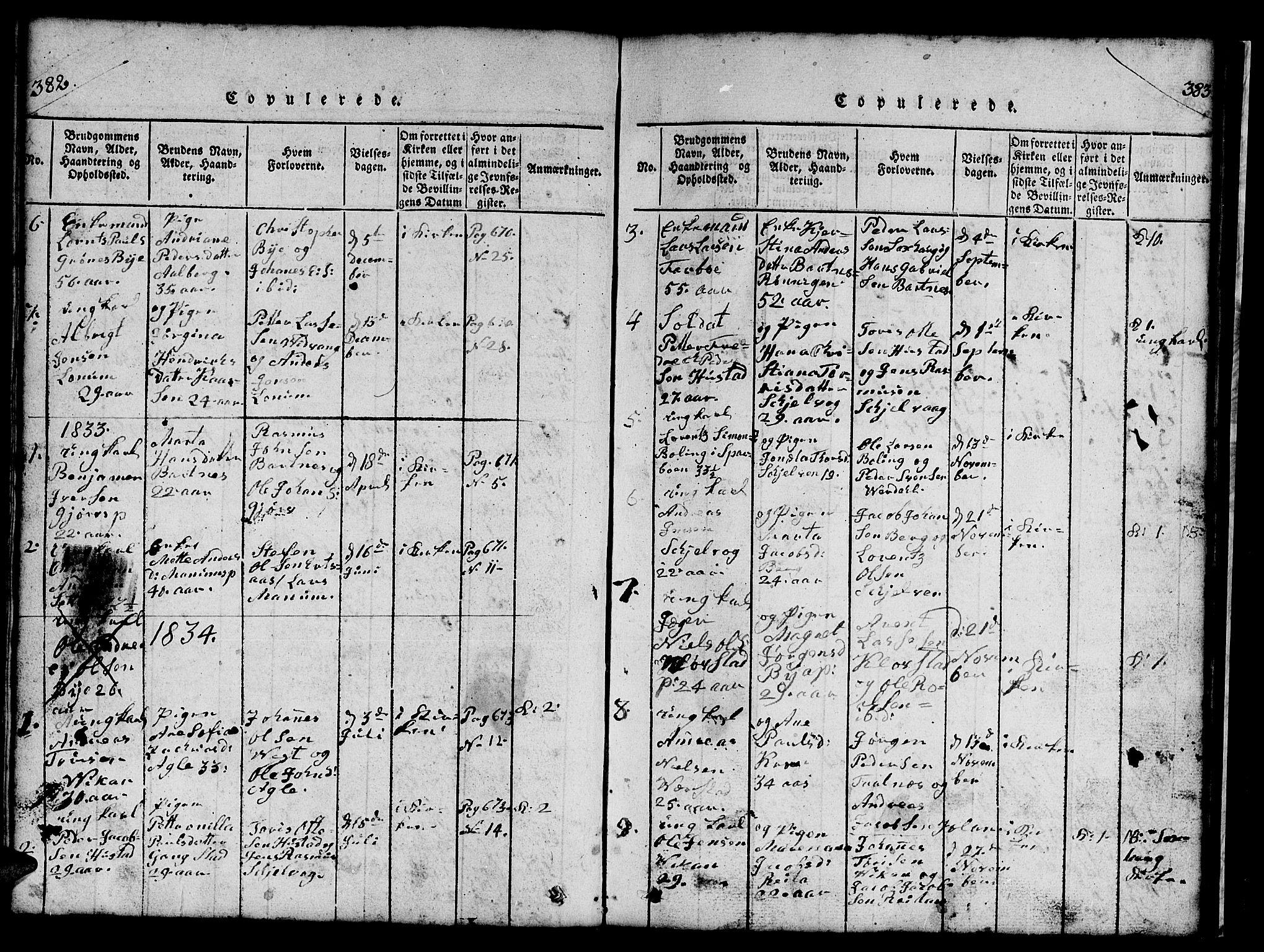 SAT, Ministerialprotokoller, klokkerbøker og fødselsregistre - Nord-Trøndelag, 732/L0317: Klokkerbok nr. 732C01, 1816-1881, s. 382-383