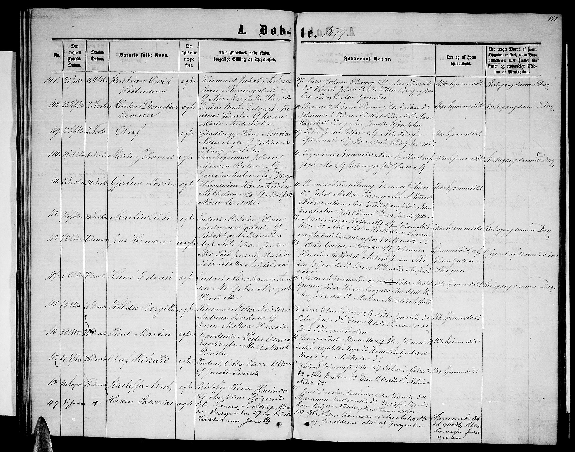 SAT, Ministerialprotokoller, klokkerbøker og fødselsregistre - Nordland, 827/L0415: Klokkerbok nr. 827C04, 1864-1886, s. 152