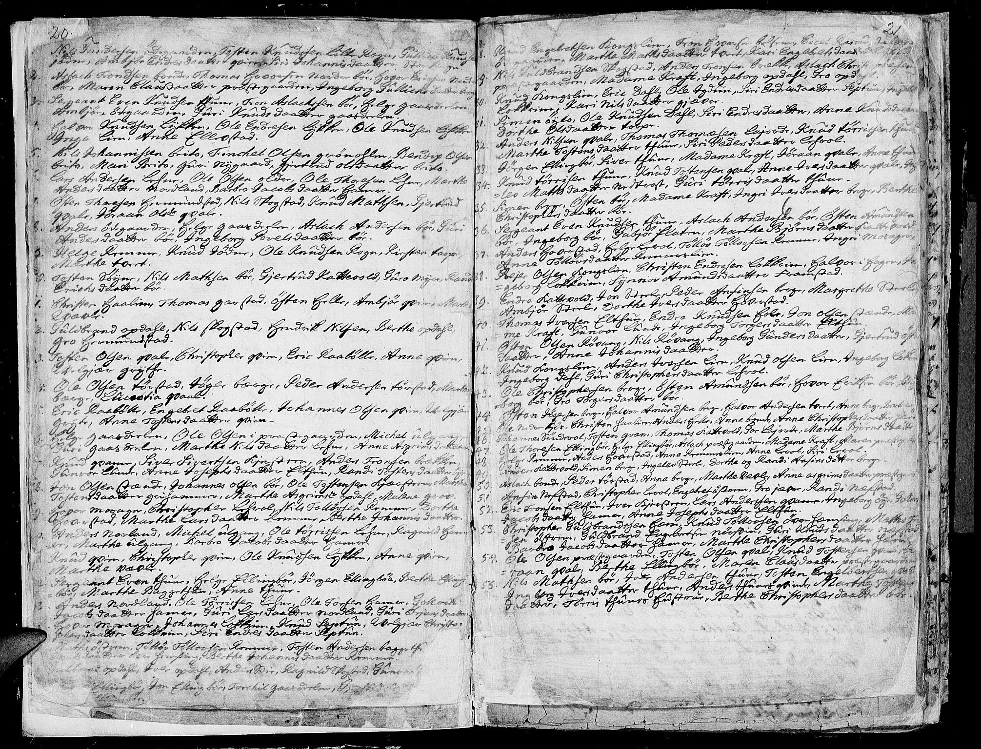 SAH, Vang prestekontor, Valdres, Ministerialbok nr. 1, 1730-1796, s. 20-21
