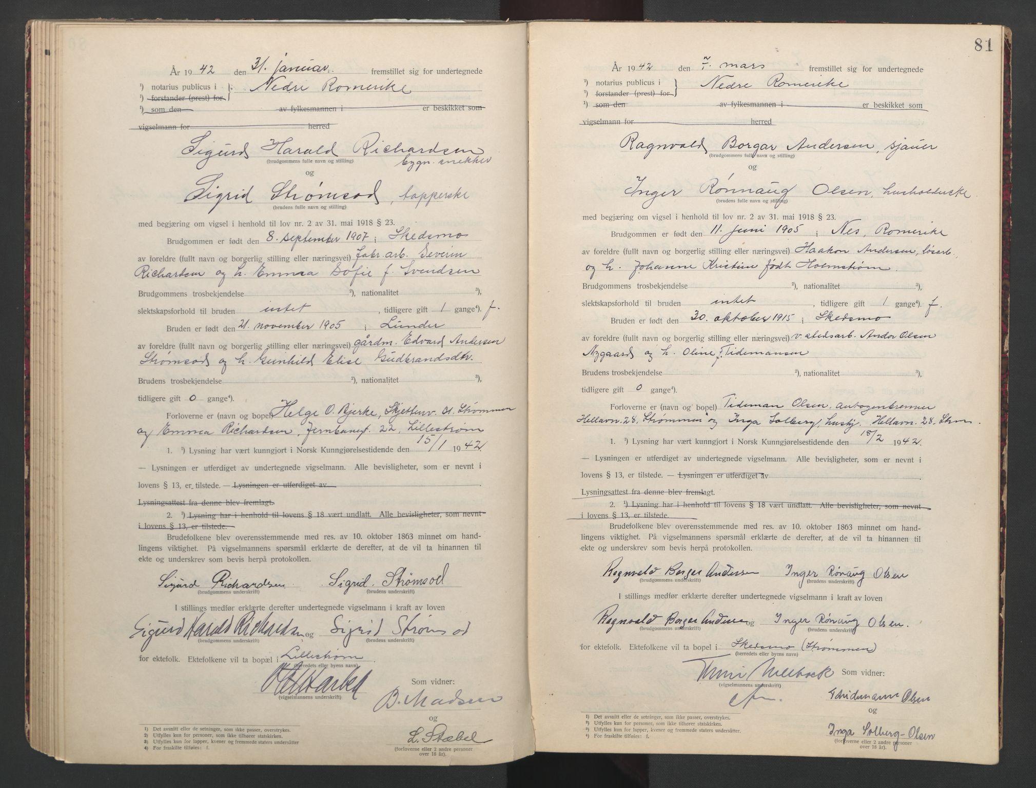 SAO, Nedre Romerike sorenskriveri, L/Lb/L0002: Vigselsbok - borgerlige vielser, 1935-1942, s. 81