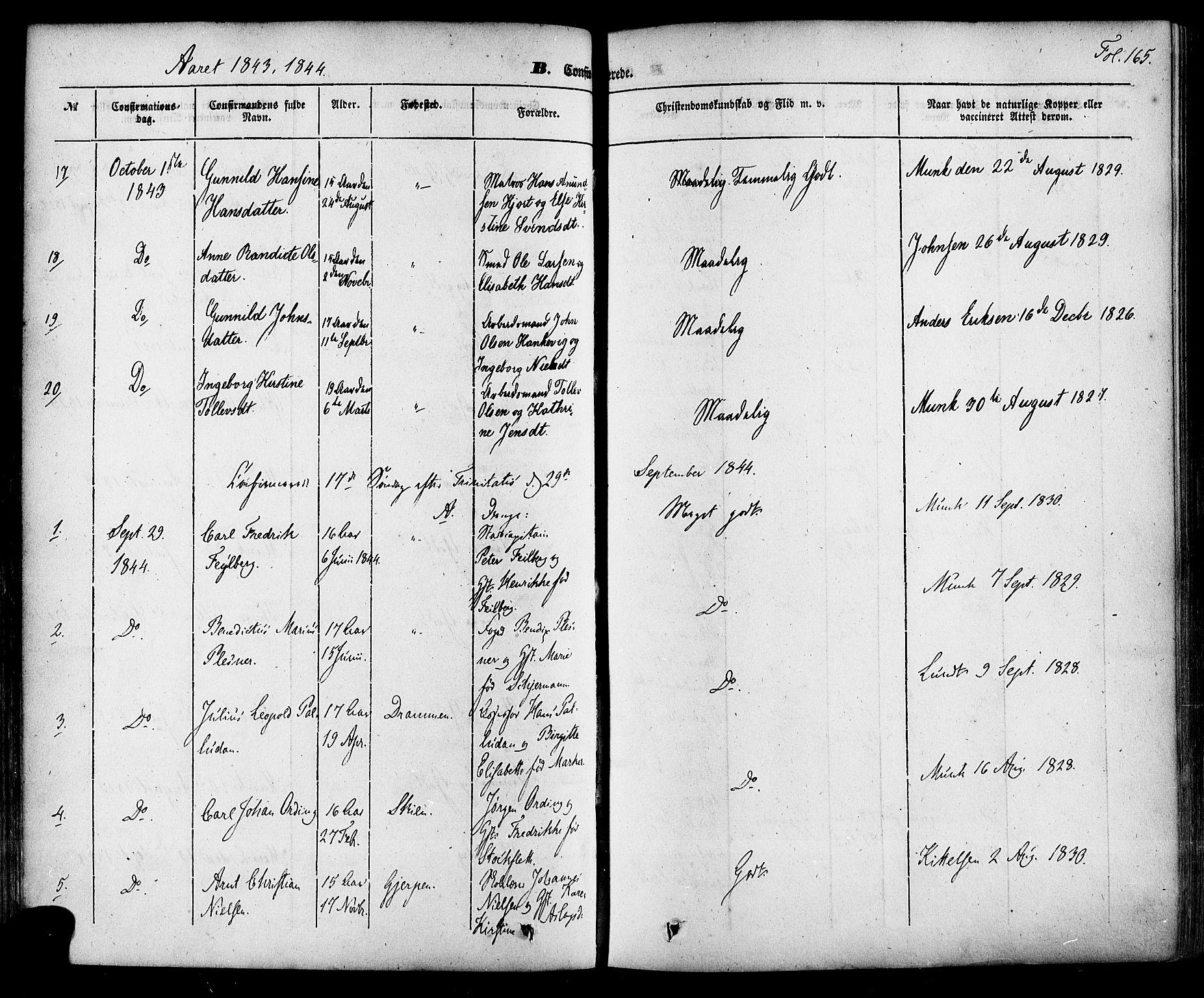 SAKO, Skien kirkebøker, F/Fa/L0006a: Ministerialbok nr. 6A, 1843-1856, s. 165