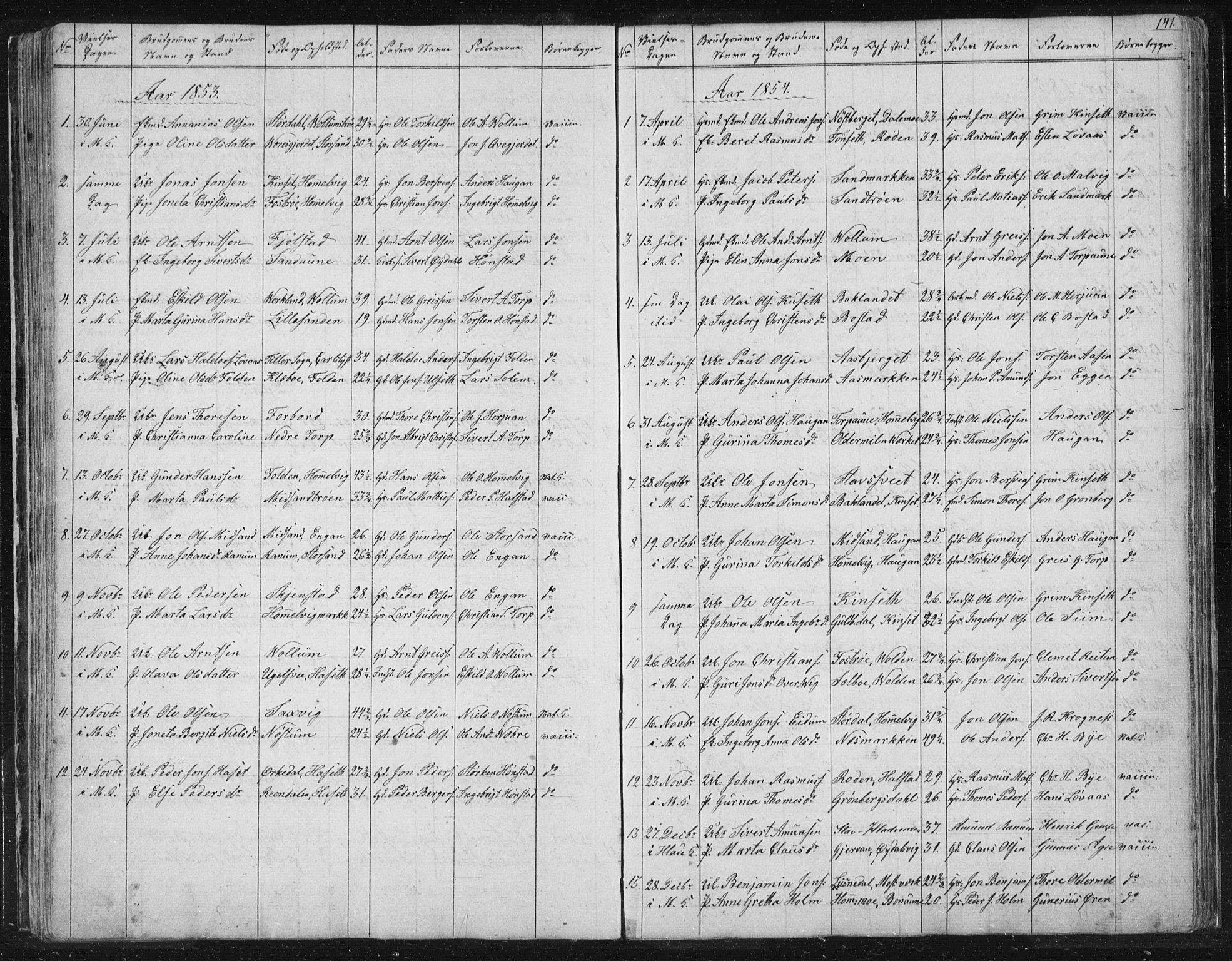 SAT, Ministerialprotokoller, klokkerbøker og fødselsregistre - Sør-Trøndelag, 616/L0406: Ministerialbok nr. 616A03, 1843-1879, s. 141