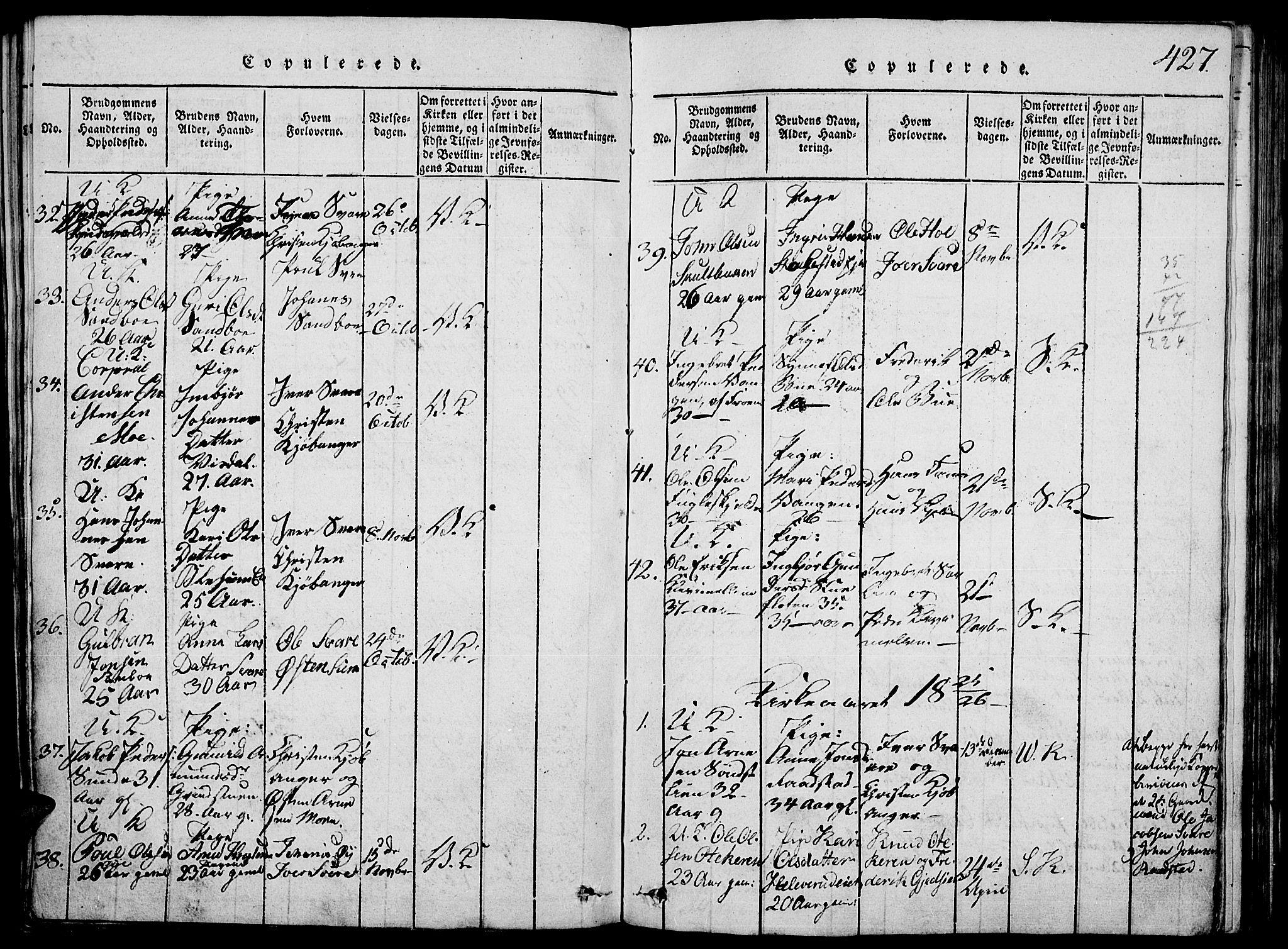 SAH, Vågå prestekontor, Klokkerbok nr. 1, 1815-1827, s. 426-427