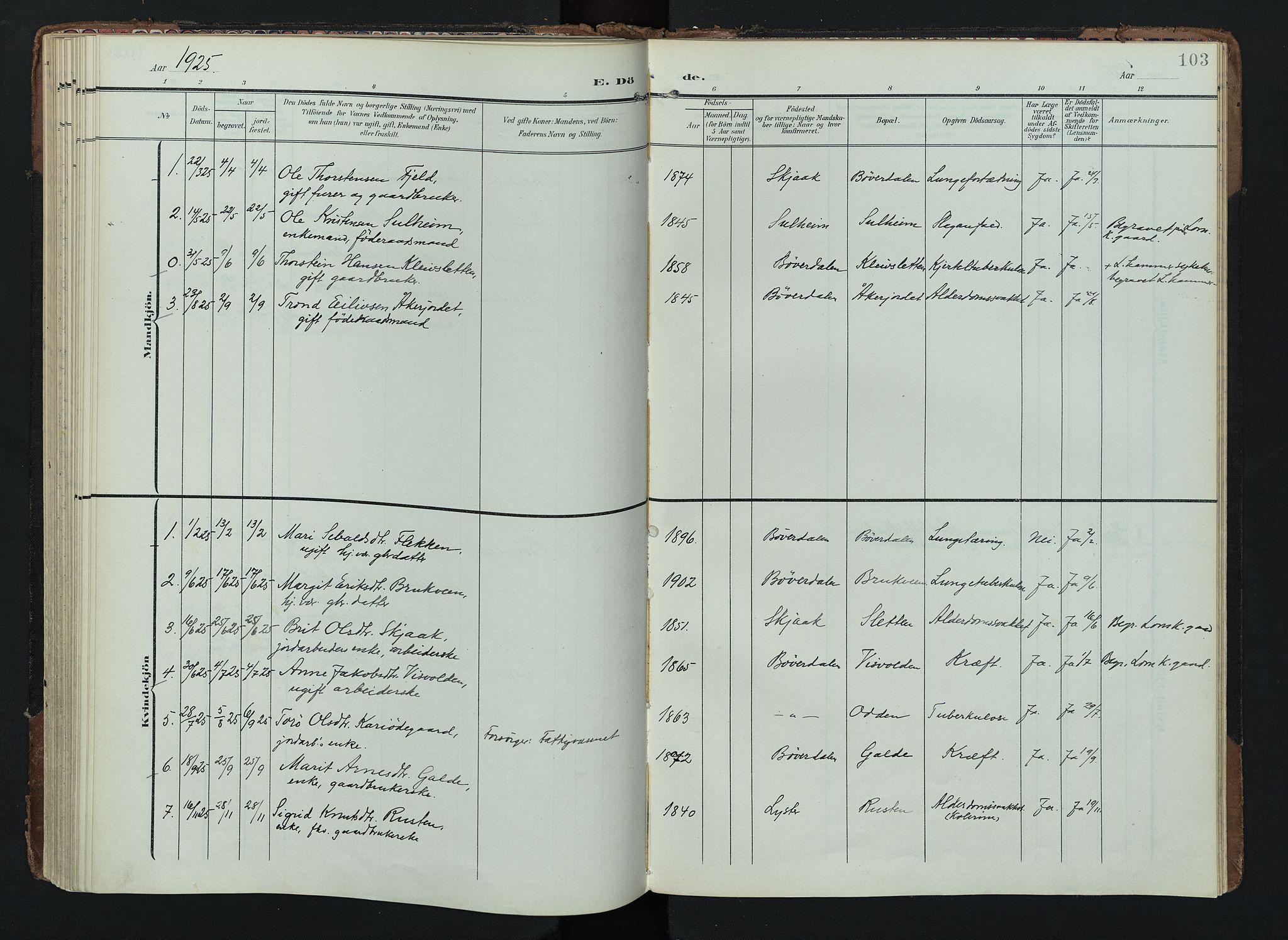 SAH, Lom prestekontor, K/L0012: Ministerialbok nr. 12, 1904-1928, s. 103