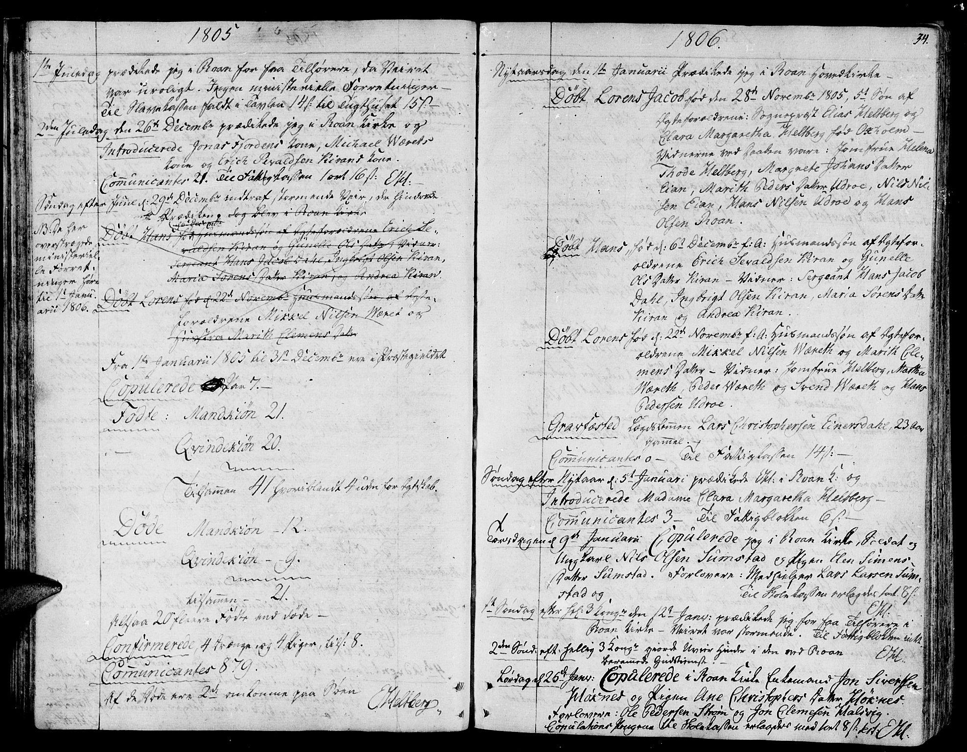 SAT, Ministerialprotokoller, klokkerbøker og fødselsregistre - Sør-Trøndelag, 657/L0701: Ministerialbok nr. 657A02, 1802-1831, s. 34
