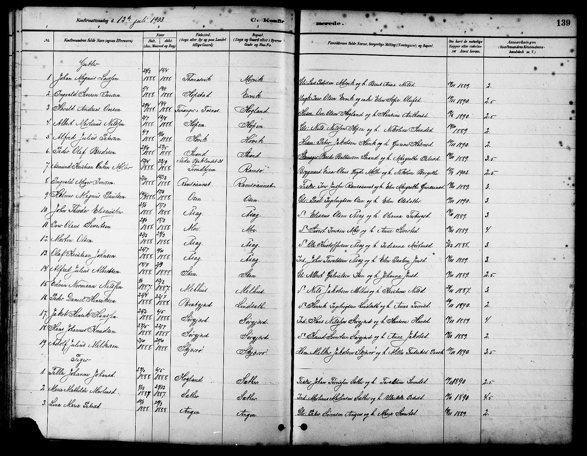SAT, Ministerialprotokoller, klokkerbøker og fødselsregistre - Sør-Trøndelag, 658/L0726: Klokkerbok nr. 658C02, 1883-1908, s. 139