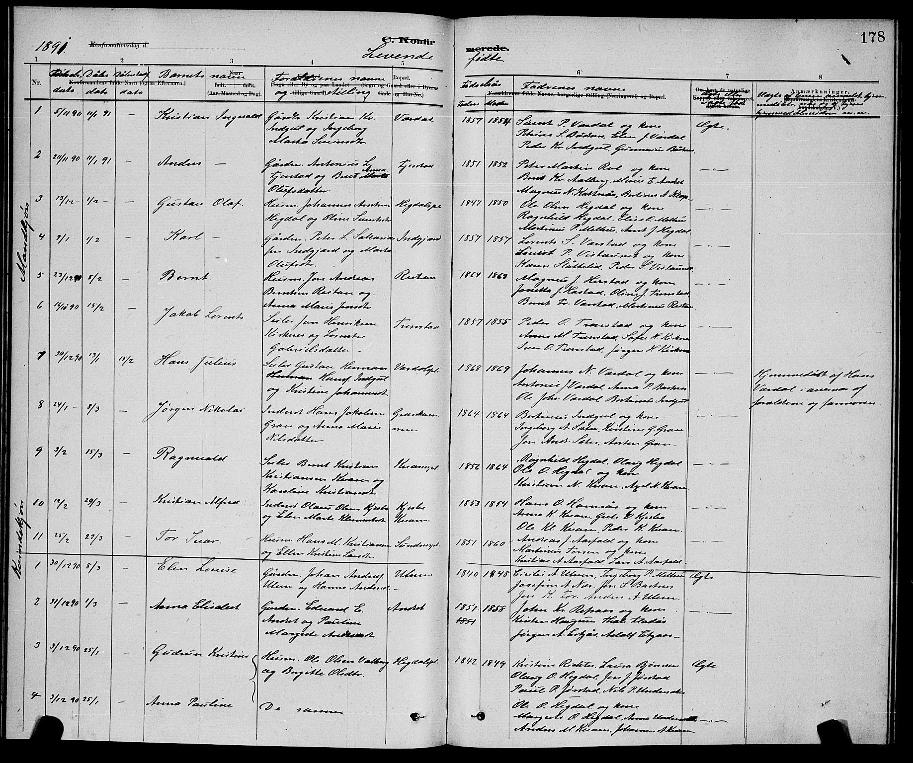 SAT, Ministerialprotokoller, klokkerbøker og fødselsregistre - Nord-Trøndelag, 730/L0301: Klokkerbok nr. 730C04, 1880-1897, s. 178