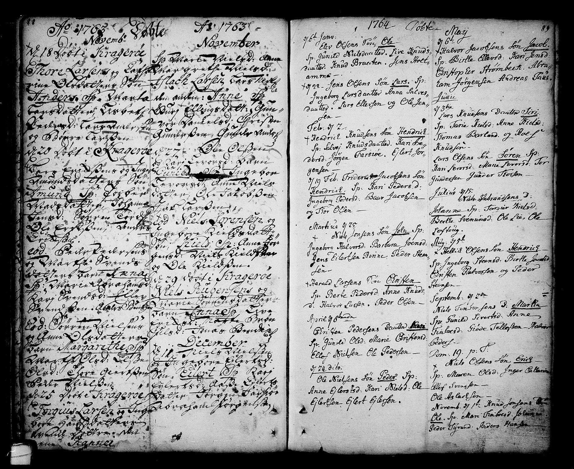 SAKO, Sannidal kirkebøker, F/Fa/L0001: Ministerialbok nr. 1, 1702-1766, s. 88-89