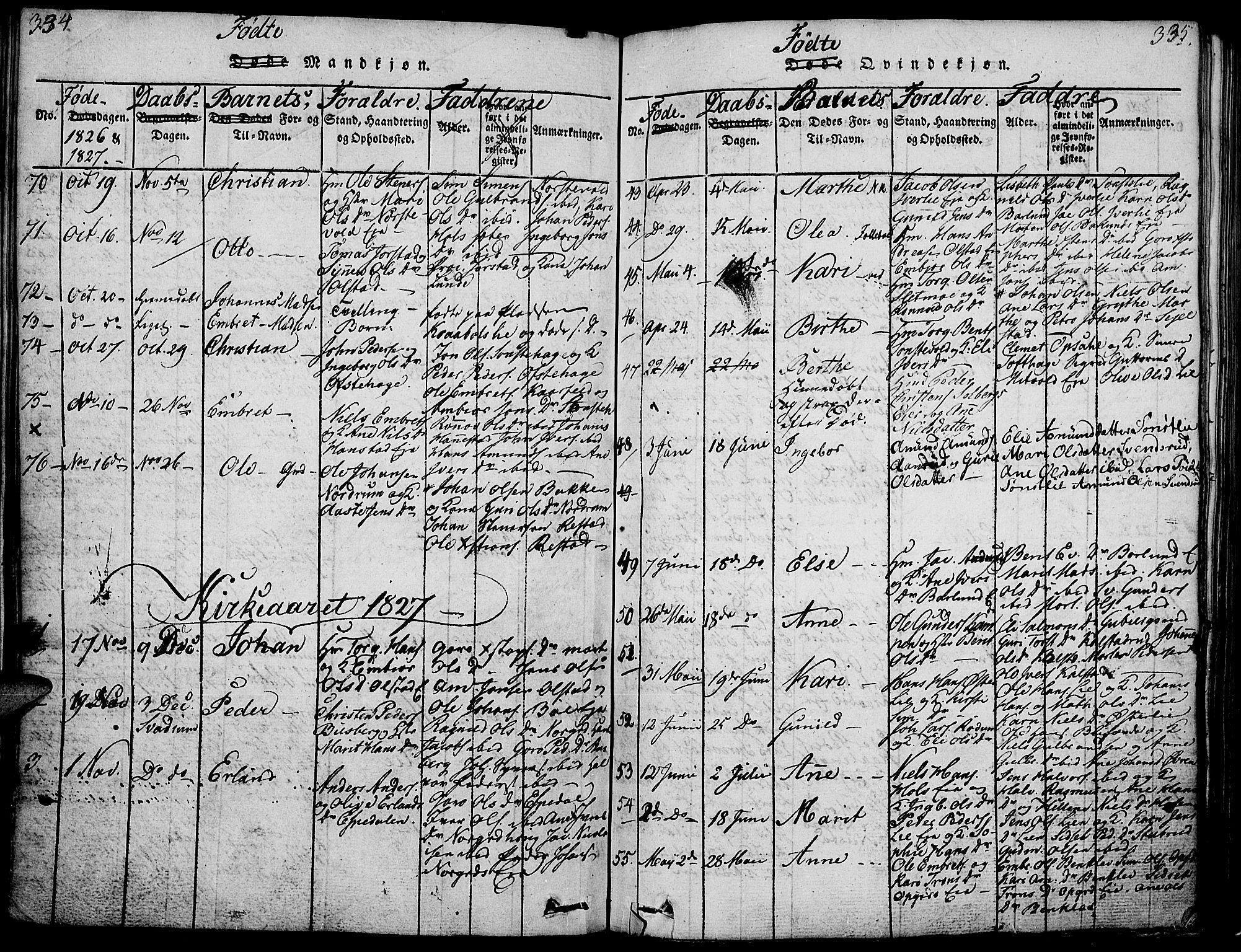 SAH, Gausdal prestekontor, Ministerialbok nr. 5, 1817-1829, s. 334-335