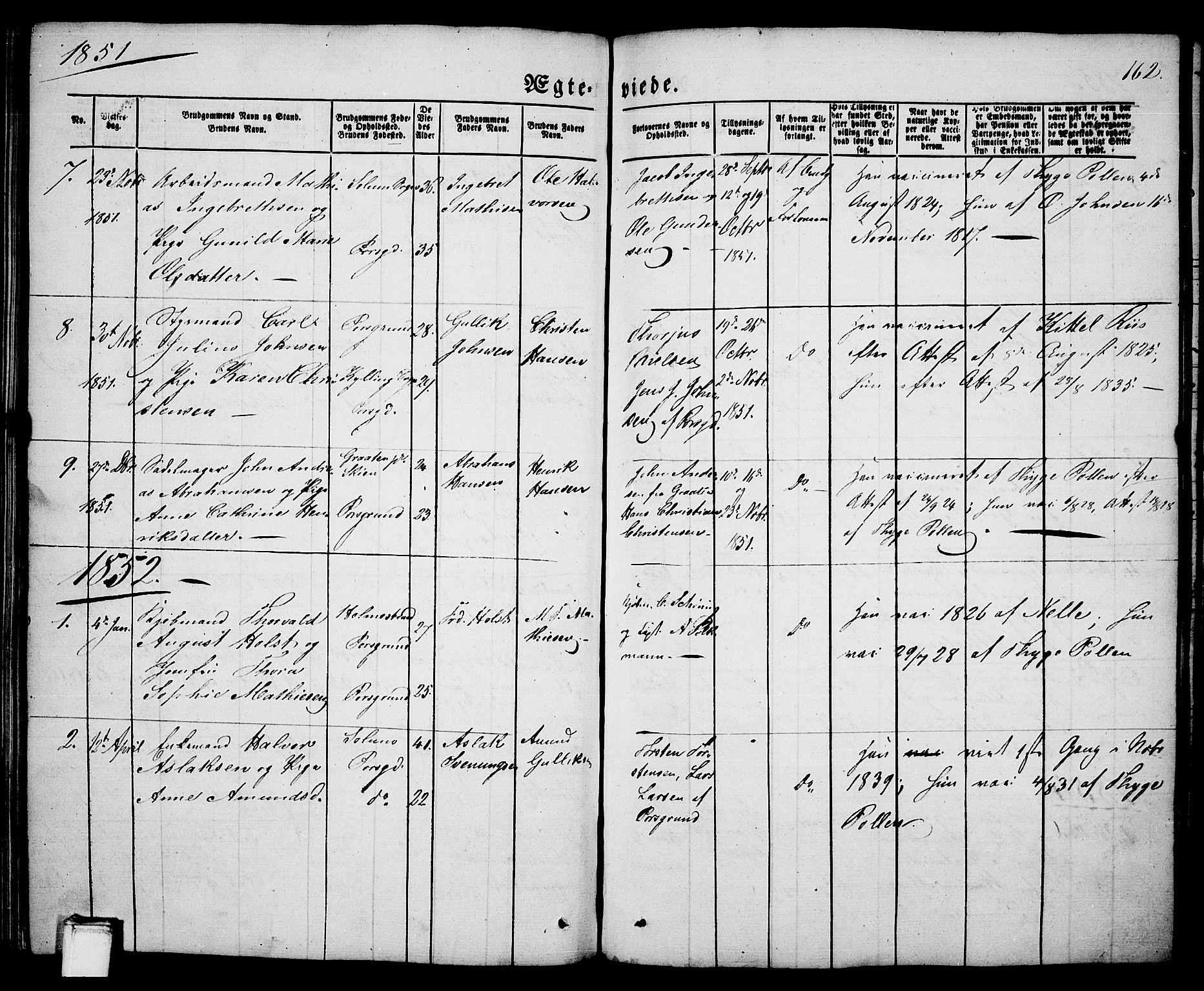 SAKO, Porsgrunn kirkebøker , G/Ga/L0002: Klokkerbok nr. I 2, 1847-1877, s. 162