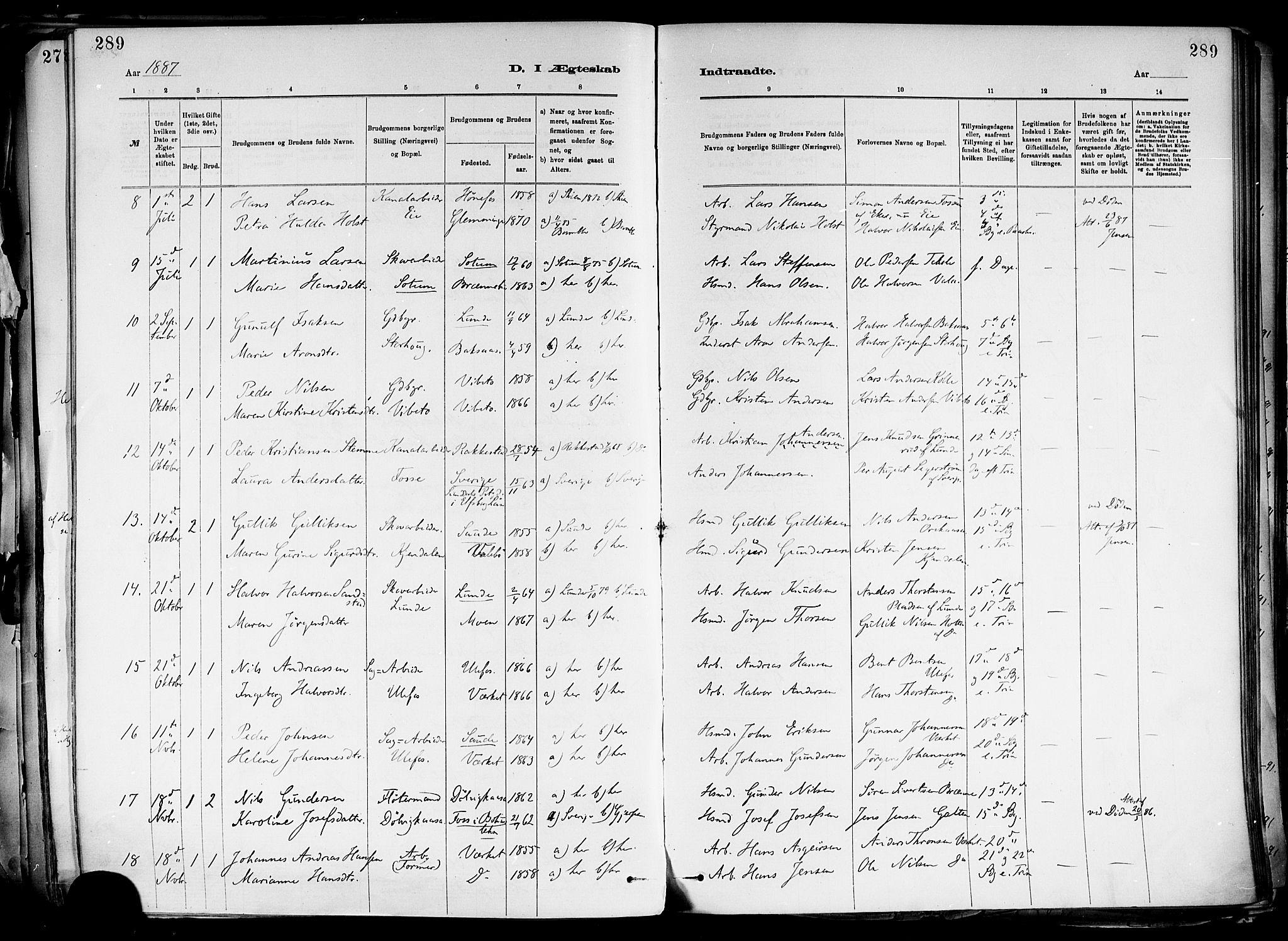 SAKO, Holla kirkebøker, F/Fa/L0008: Ministerialbok nr. 8, 1882-1897, s. 289