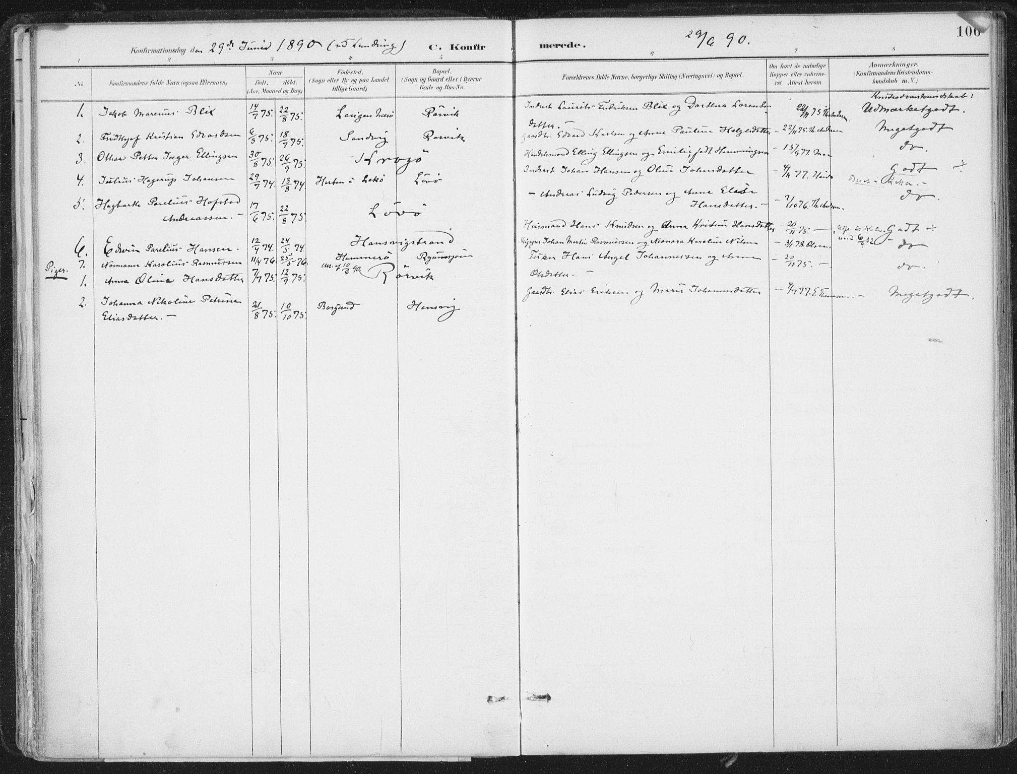 SAT, Ministerialprotokoller, klokkerbøker og fødselsregistre - Nord-Trøndelag, 786/L0687: Ministerialbok nr. 786A03, 1888-1898, s. 106