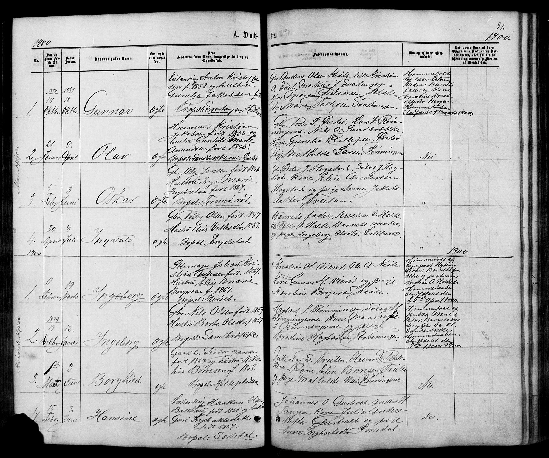 SAKO, Siljan kirkebøker, G/Ga/L0002: Klokkerbok nr. 2, 1864-1908, s. 91