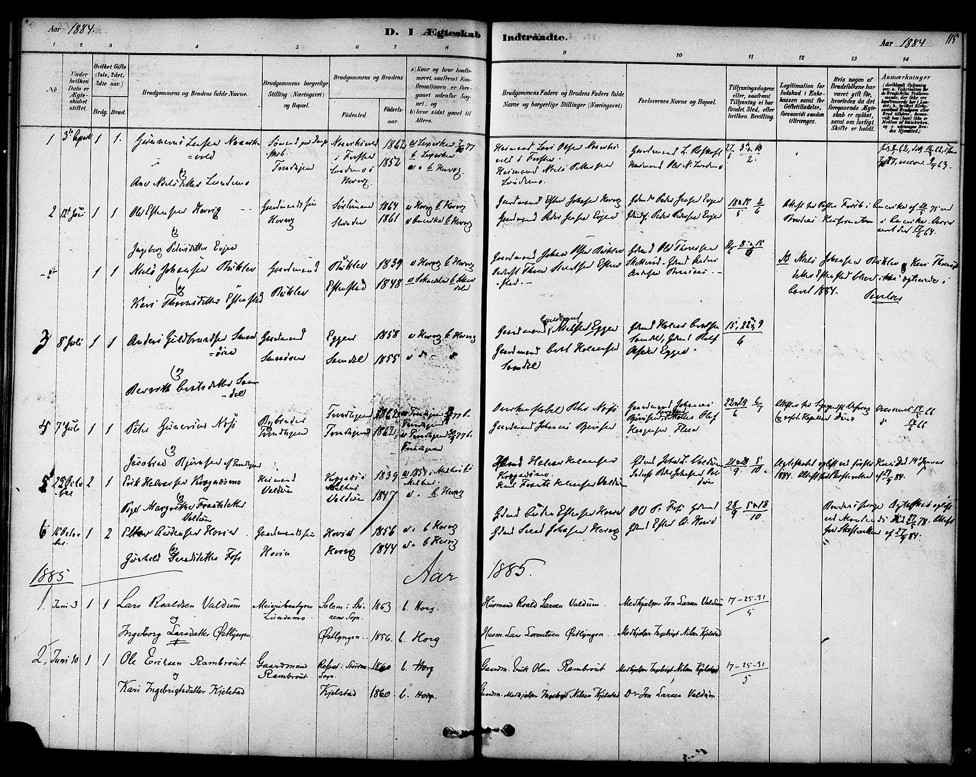SAT, Ministerialprotokoller, klokkerbøker og fødselsregistre - Sør-Trøndelag, 692/L1105: Ministerialbok nr. 692A05, 1878-1890, s. 115