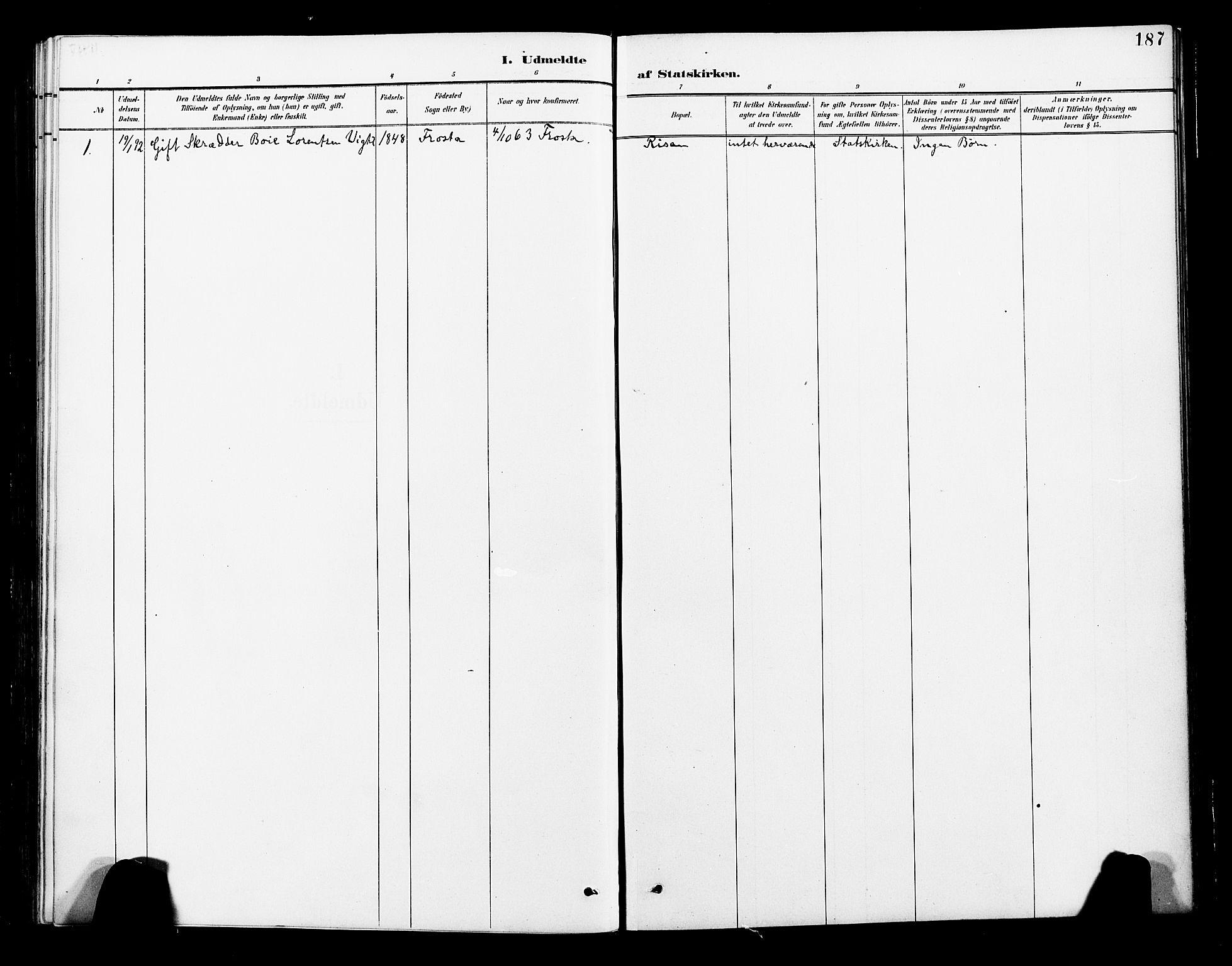 SAT, Ministerialprotokoller, klokkerbøker og fødselsregistre - Nord-Trøndelag, 713/L0121: Ministerialbok nr. 713A10, 1888-1898, s. 187