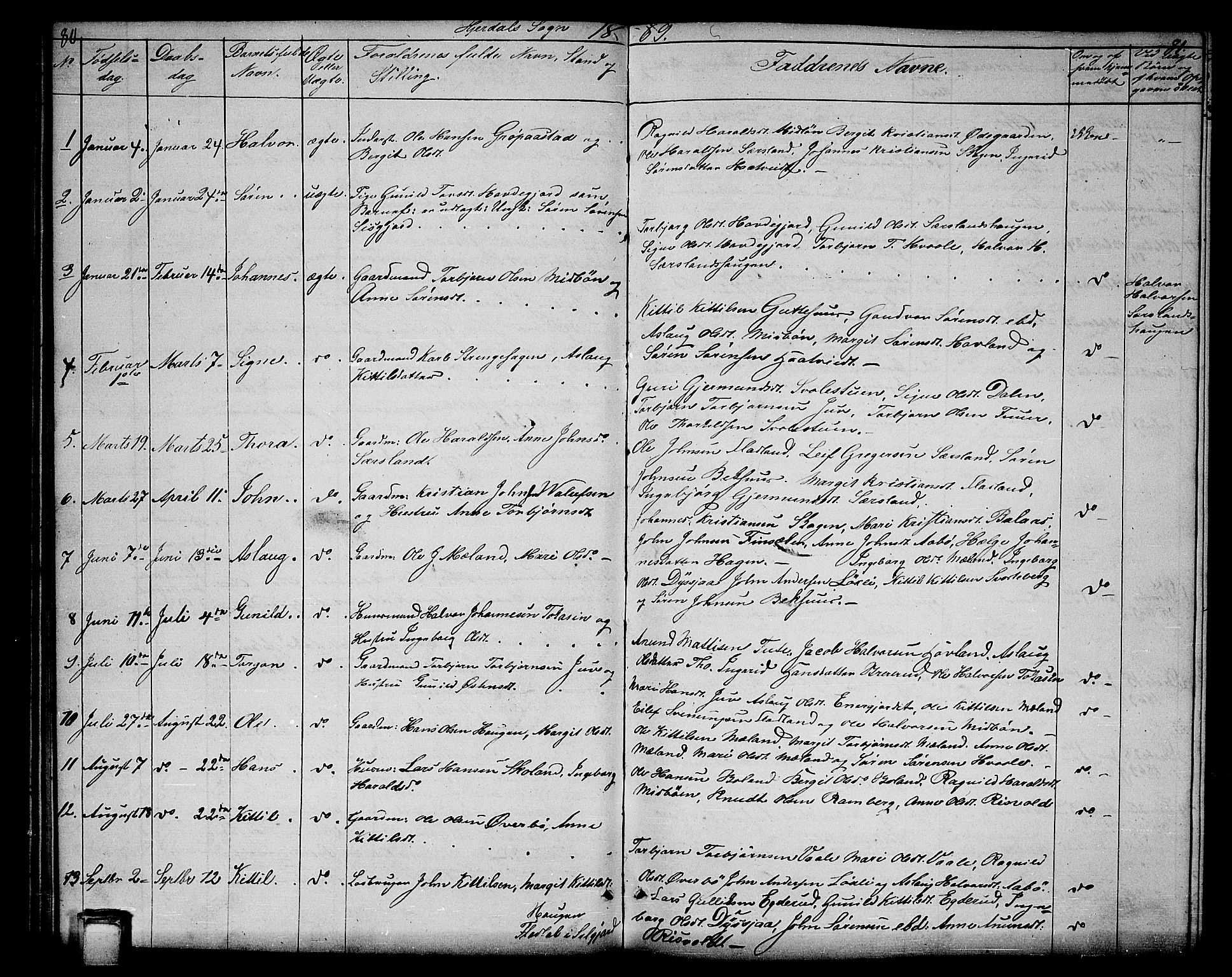 SAKO, Hjartdal kirkebøker, G/Ga/L0002: Klokkerbok nr. I 2, 1854-1888, s. 80-81