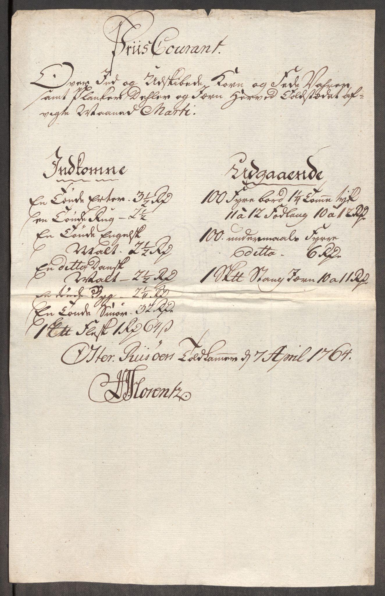 RA, Rentekammeret inntil 1814, Realistisk ordnet avdeling, Oe/L0008: [Ø1]: Priskuranter, 1764-1768, s. 198