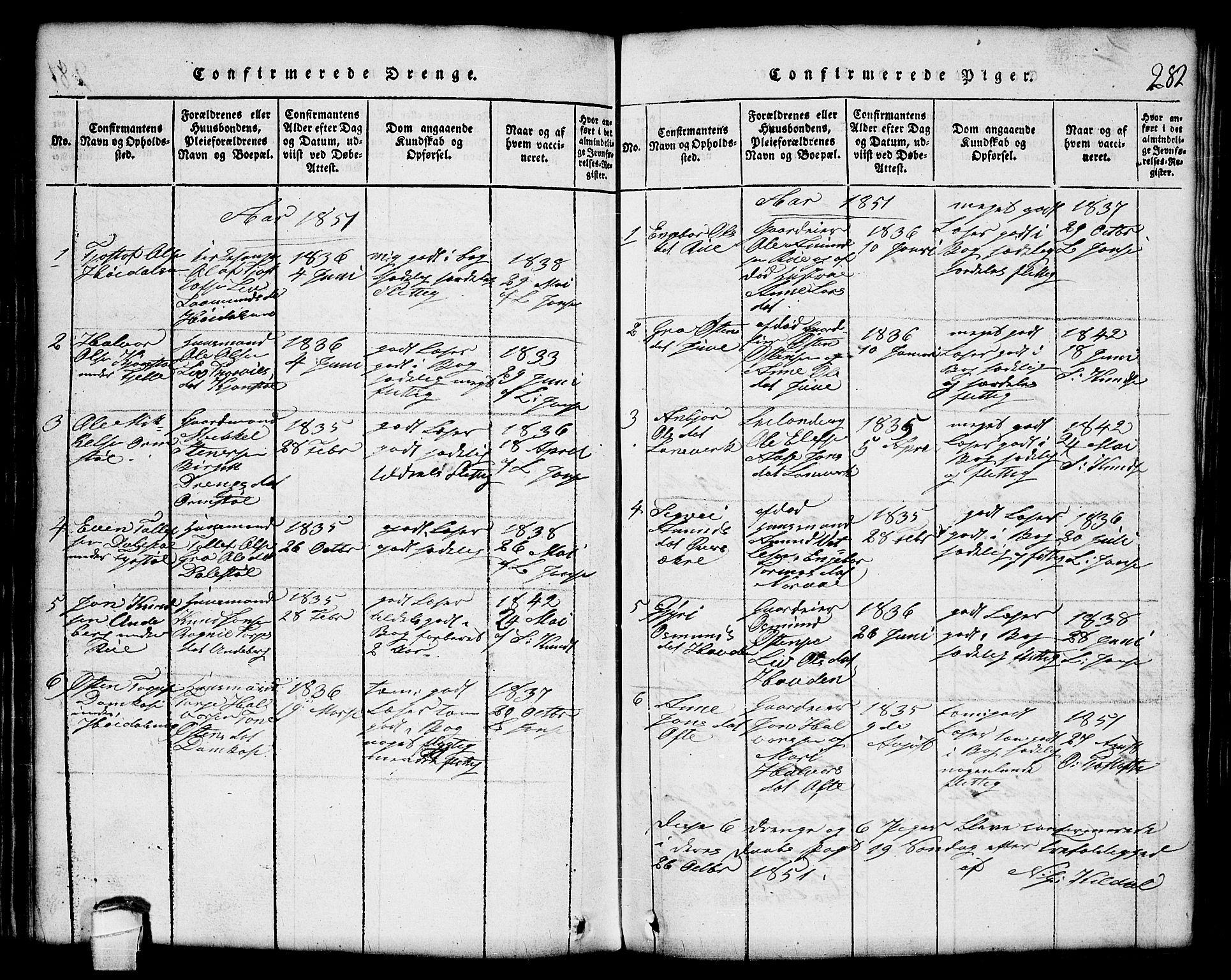SAKO, Lårdal kirkebøker, G/Gc/L0001: Klokkerbok nr. III 1, 1815-1854, s. 282