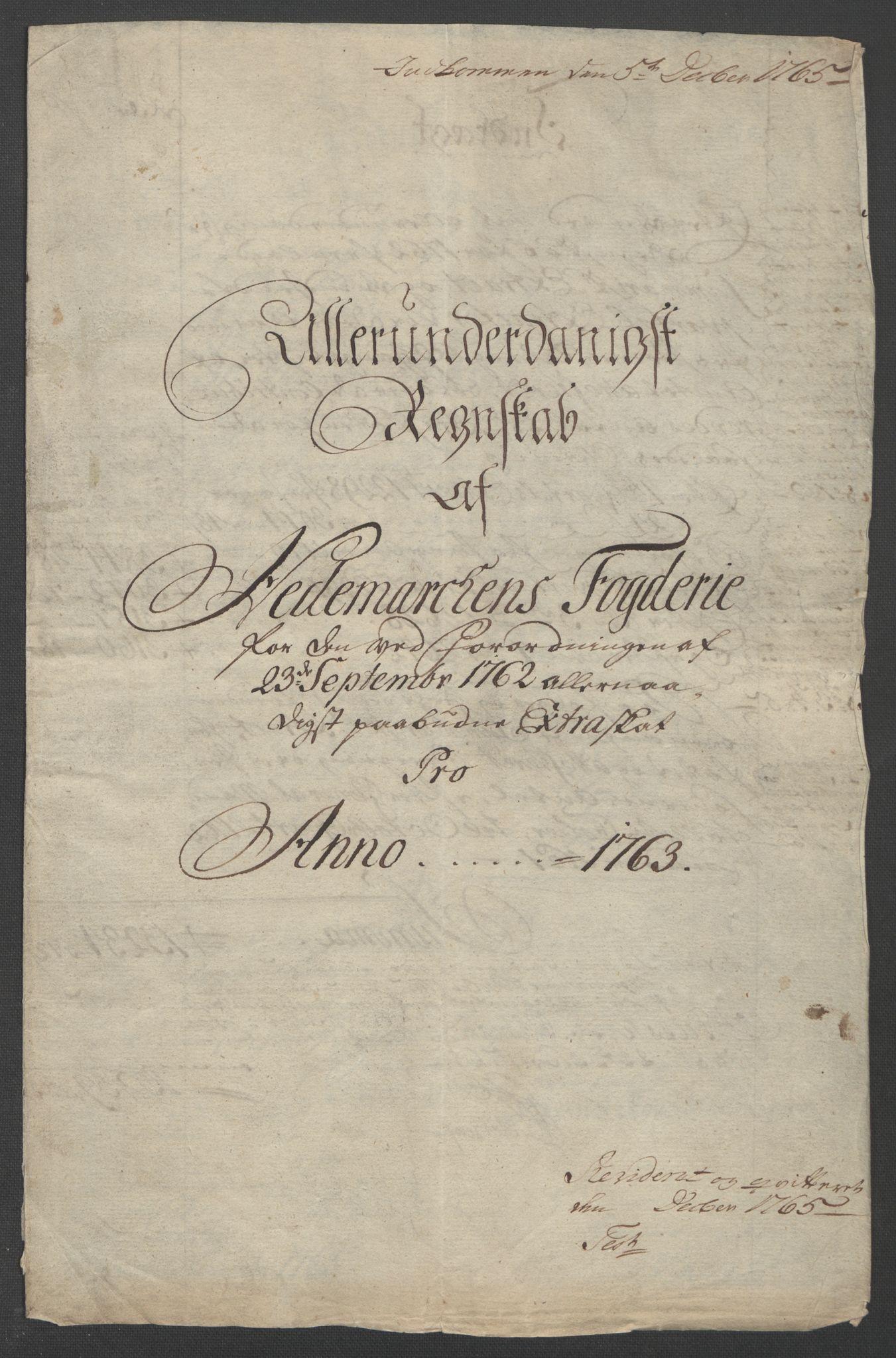 RA, Rentekammeret inntil 1814, Reviderte regnskaper, Fogderegnskap, R16/L1147: Ekstraskatten Hedmark, 1763-1764, s. 5