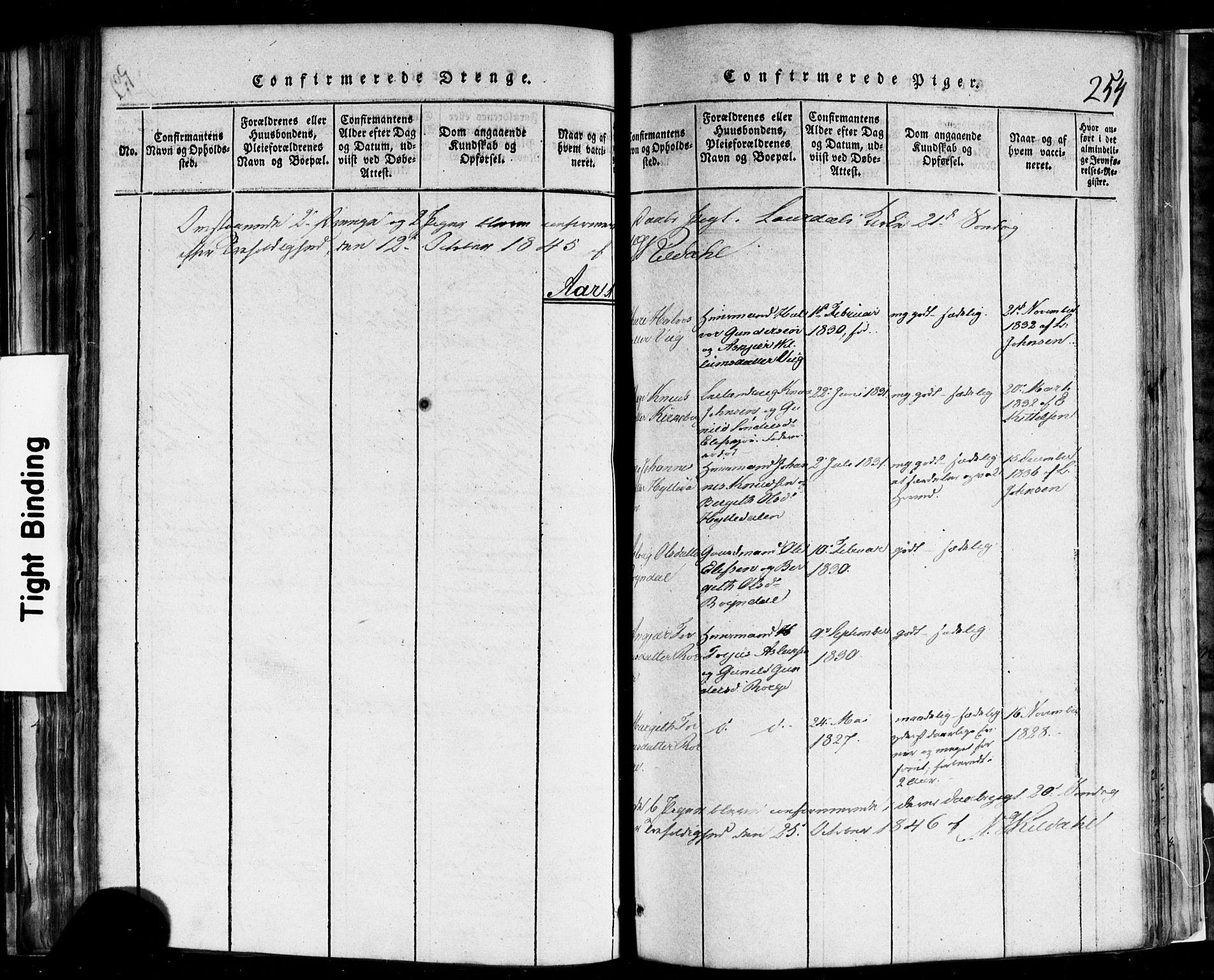 SAKO, Rauland kirkebøker, F/Fa/L0002: Ministerialbok nr. 2, 1815-1860, s. 254