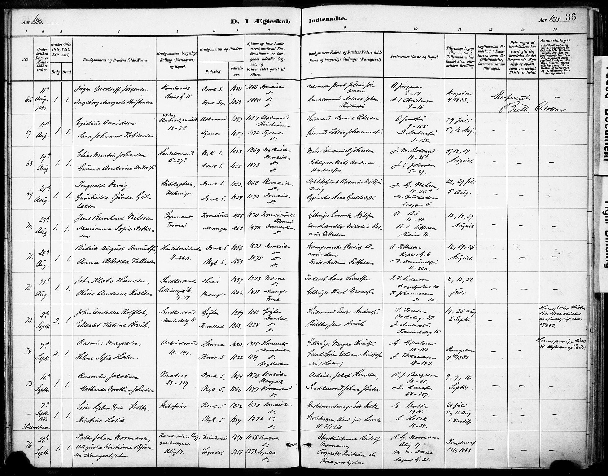 SAB, Domkirken sokneprestembete, H/Haa/L0037: Ministerialbok nr. D 4, 1880-1907, s. 36