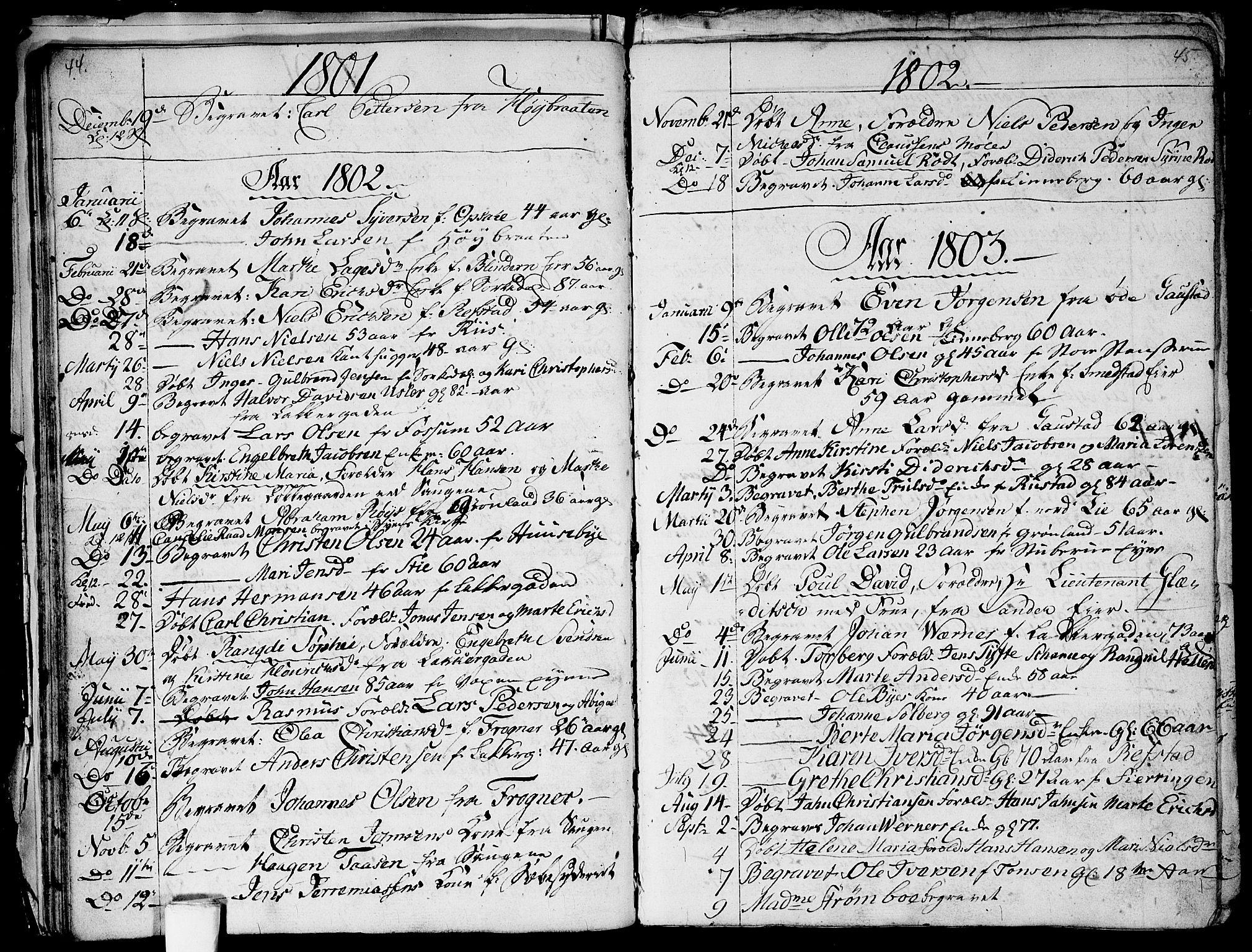 SAO, Aker prestekontor kirkebøker, G/L0001: Klokkerbok nr. 1, 1796-1826, s. 44-45