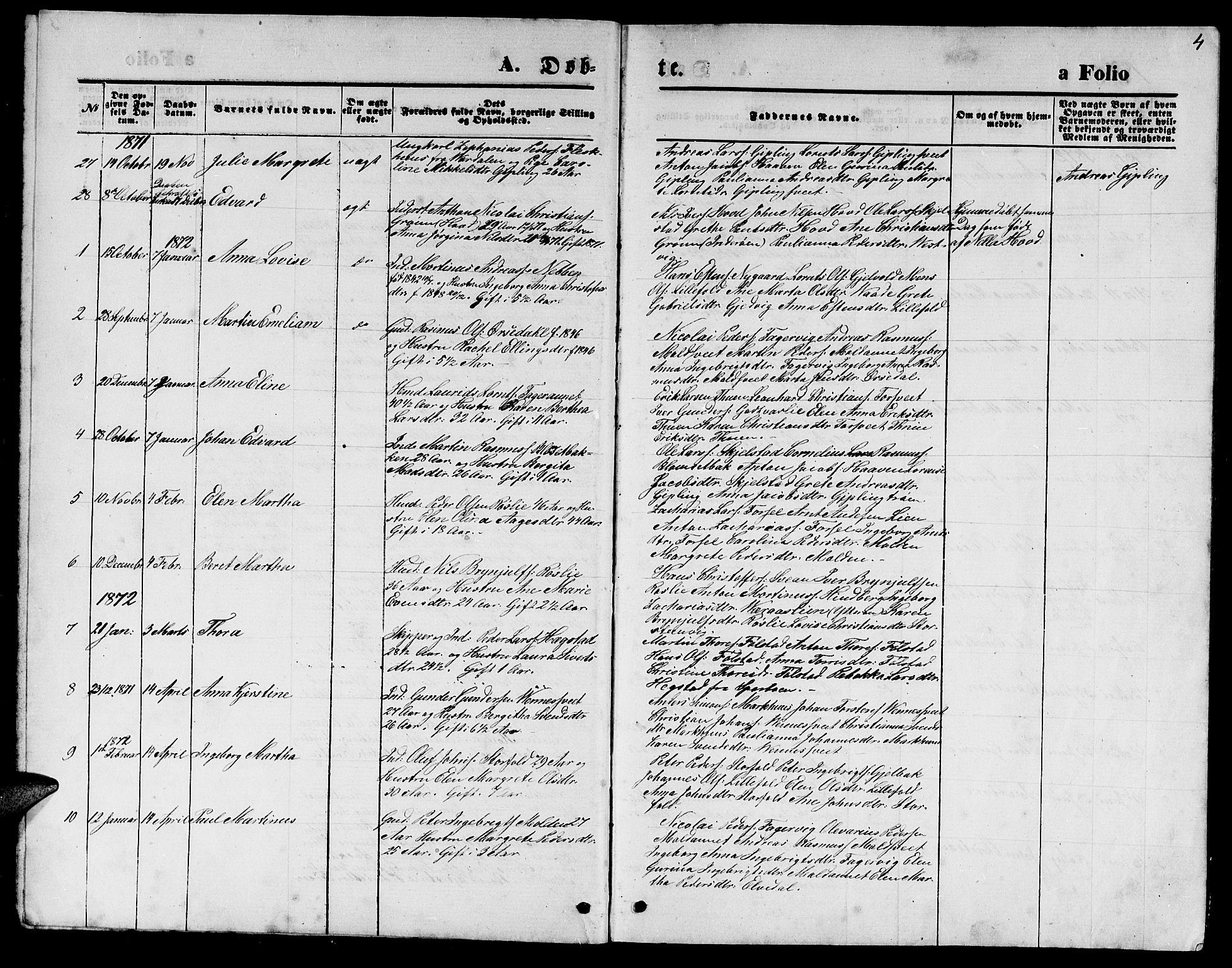 SAT, Ministerialprotokoller, klokkerbøker og fødselsregistre - Nord-Trøndelag, 744/L0422: Klokkerbok nr. 744C01, 1871-1885, s. 4