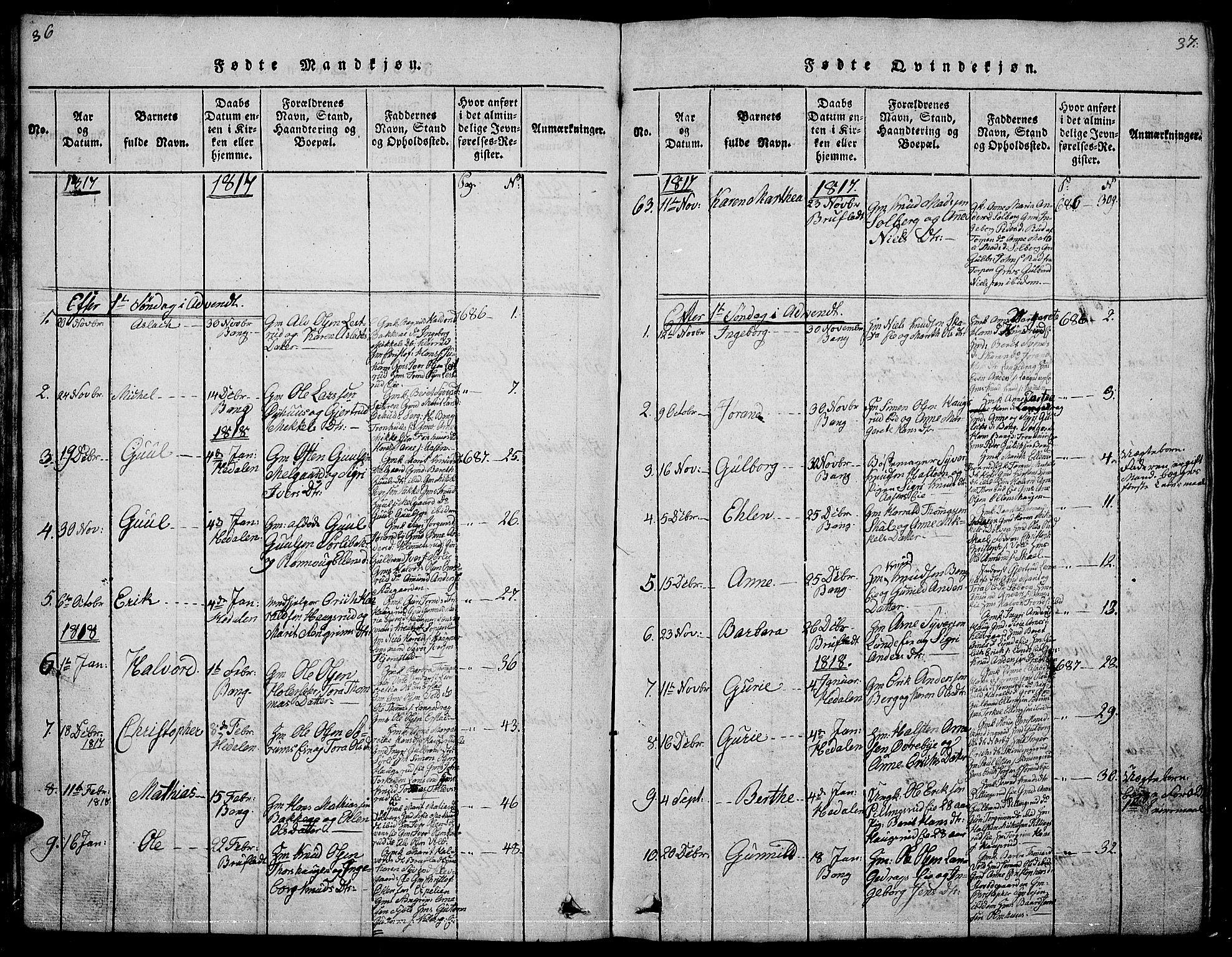 SAH, Sør-Aurdal prestekontor, Klokkerbok nr. 1, 1815-1826, s. 36-37