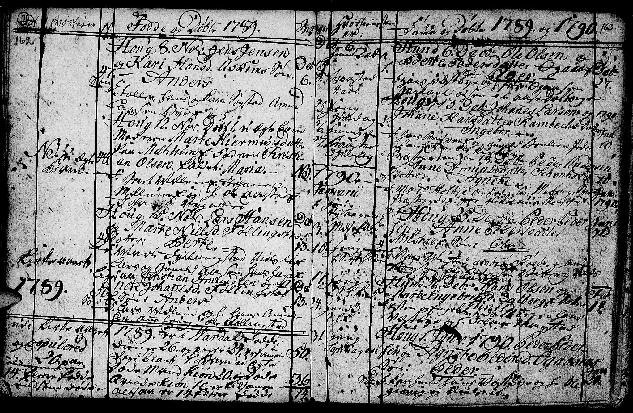 SAH, Vardal prestekontor, H/Ha/Hab/L0001: Klokkerbok nr. 1, 1771-1790, s. 162-163