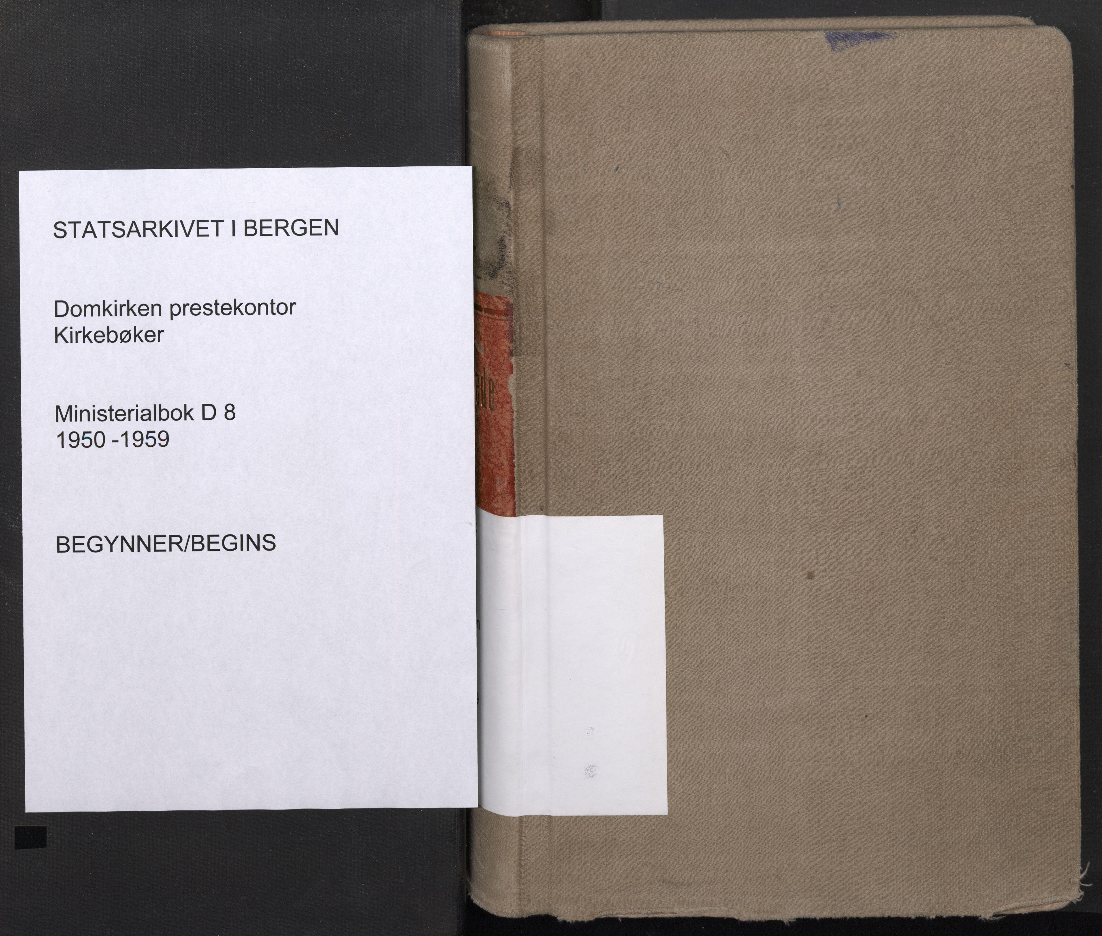 SAB, Domkirken Sokneprestembete, H/Haa: Ministerialbok nr. D 8, 1950-1959