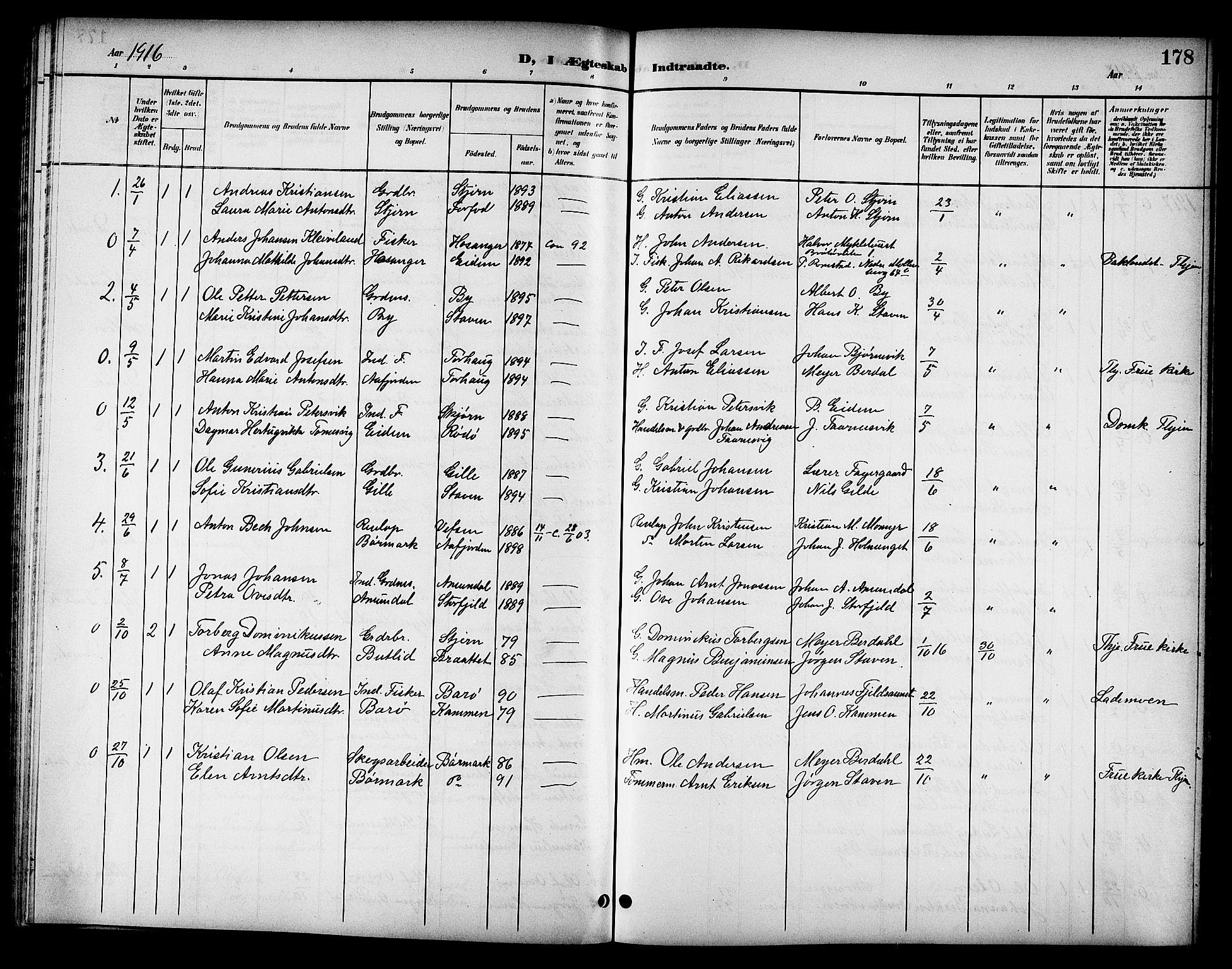 SAT, Ministerialprotokoller, klokkerbøker og fødselsregistre - Sør-Trøndelag, 655/L0688: Klokkerbok nr. 655C04, 1899-1922, s. 178