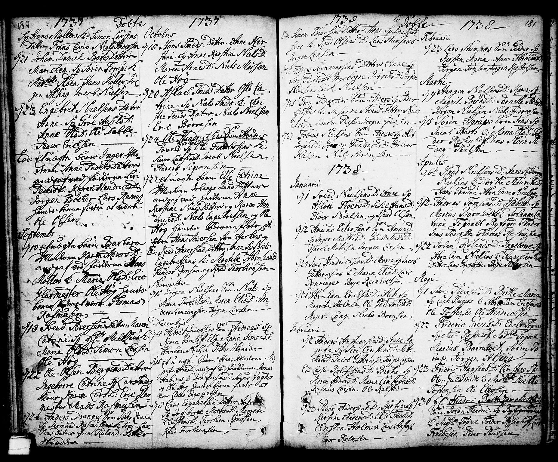SAKO, Kragerø kirkebøker, F/Fa/L0001: Ministerialbok nr. 1, 1702-1766, s. 180-181