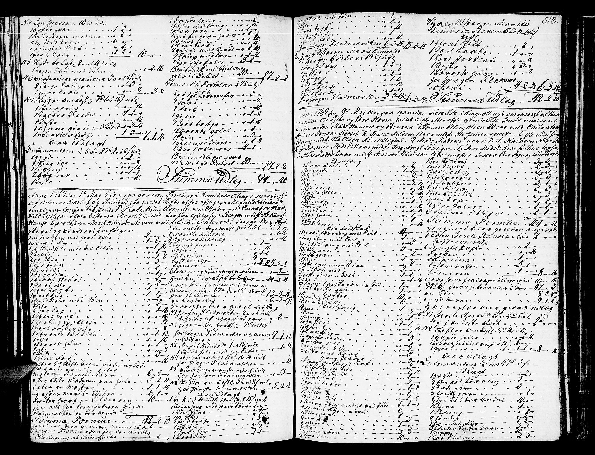 SAT, Romsdal sorenskriveri, 3/3A/L0009: Skifteprotokoll, 1761-1773, s. 512b-513a