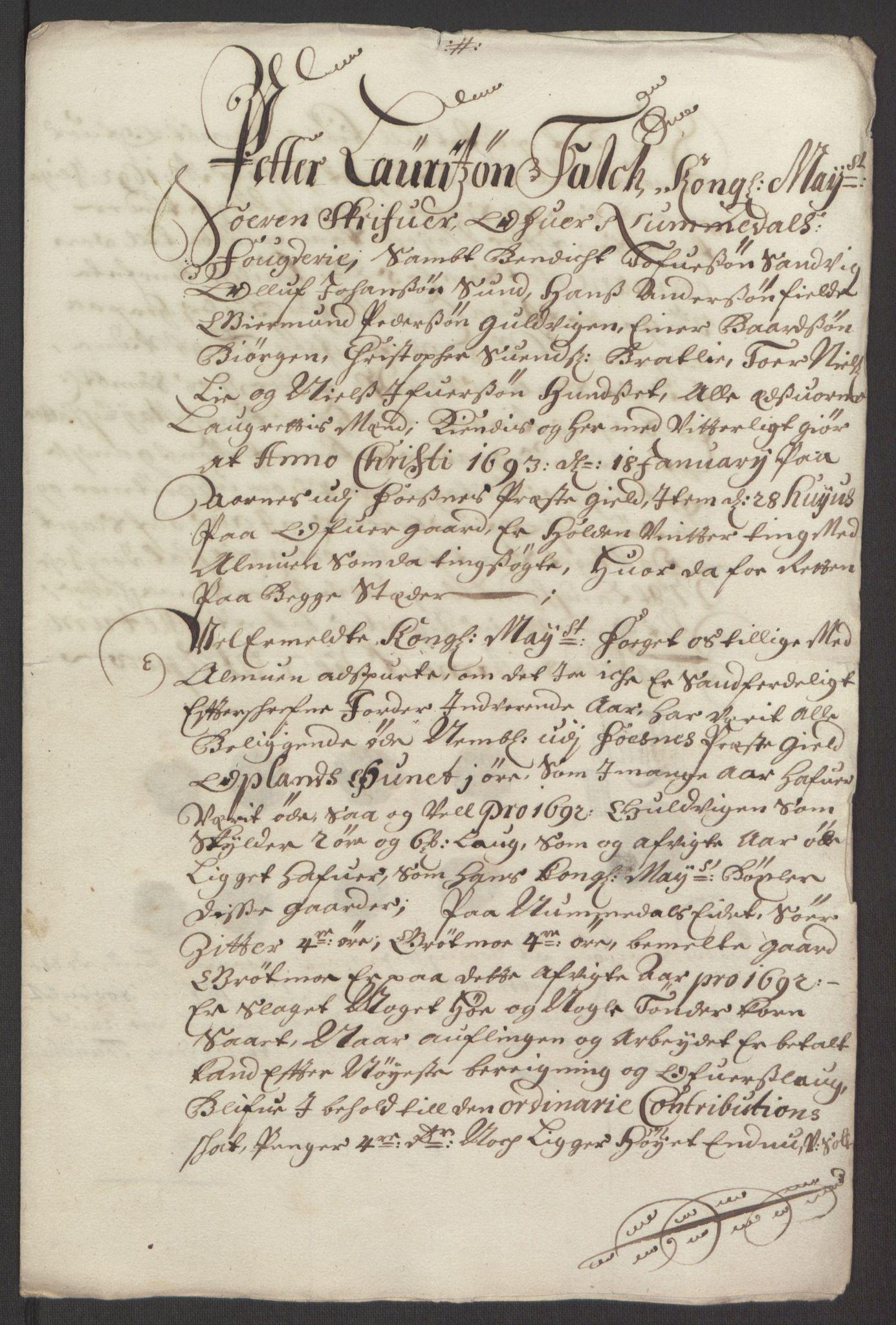 RA, Rentekammeret inntil 1814, Reviderte regnskaper, Fogderegnskap, R64/L4424: Fogderegnskap Namdal, 1692-1695, s. 159