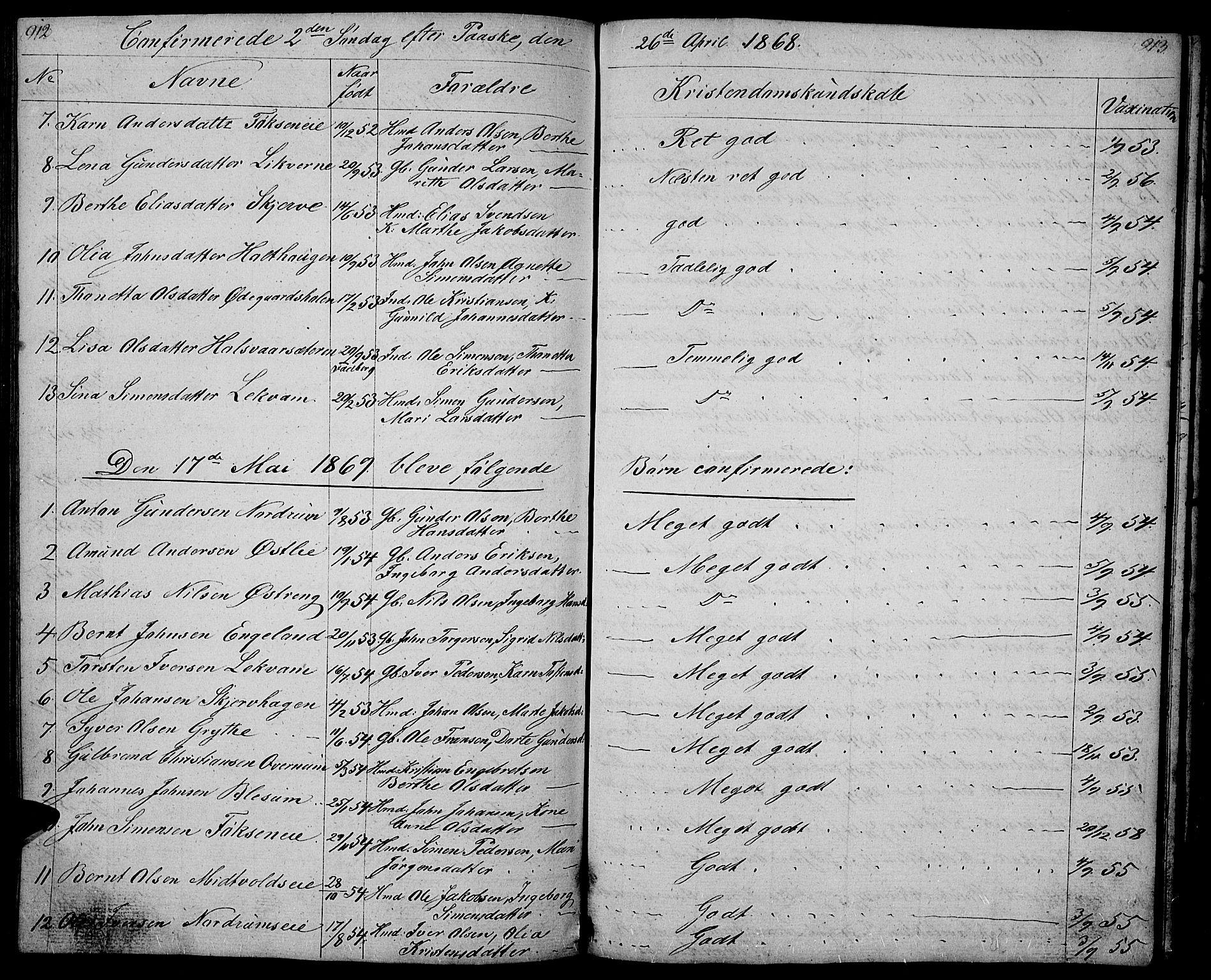 SAH, Gausdal prestekontor, Klokkerbok nr. 4, 1835-1870, s. 912-913