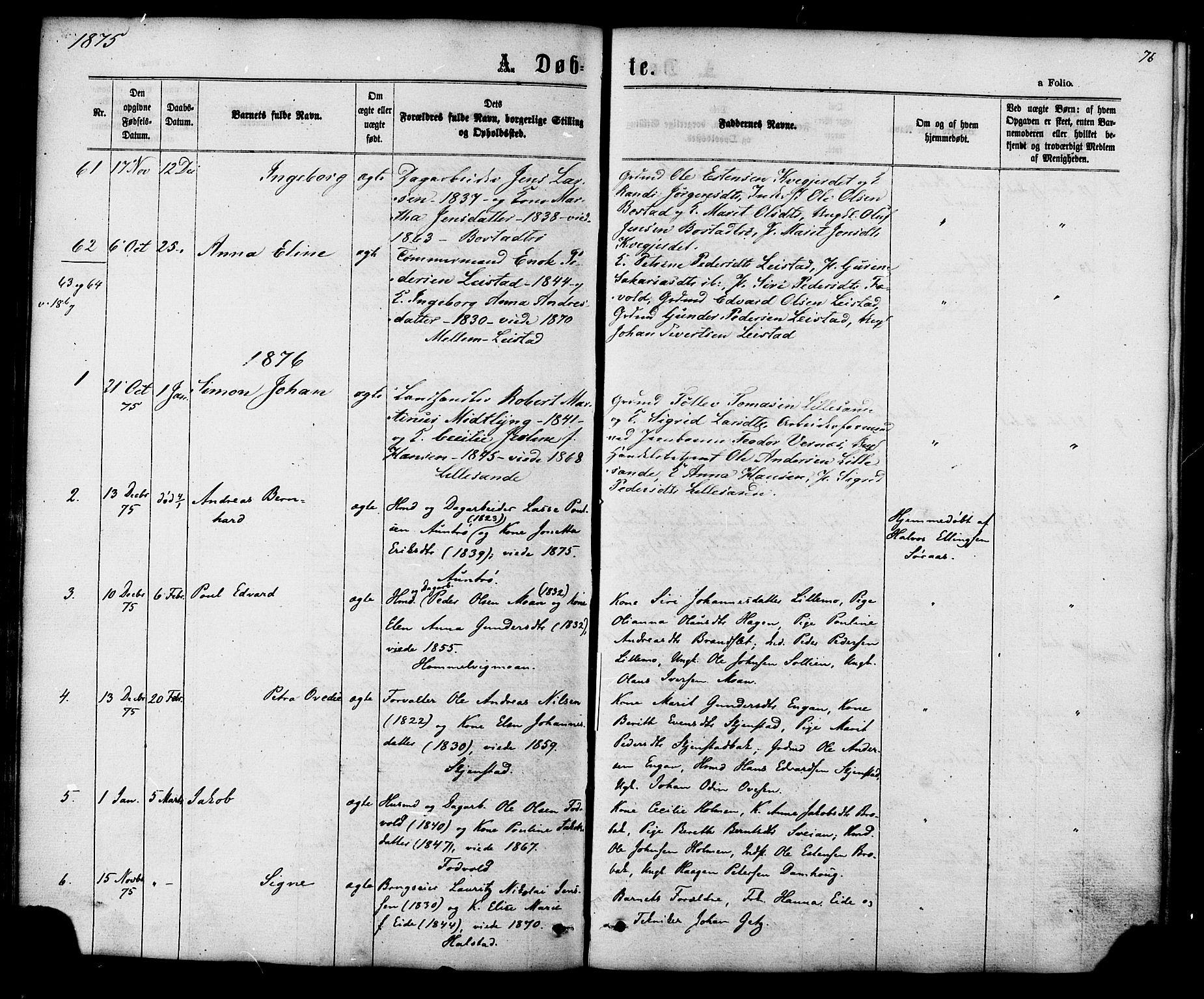 SAT, Ministerialprotokoller, klokkerbøker og fødselsregistre - Sør-Trøndelag, 616/L0409: Ministerialbok nr. 616A06, 1865-1877, s. 76