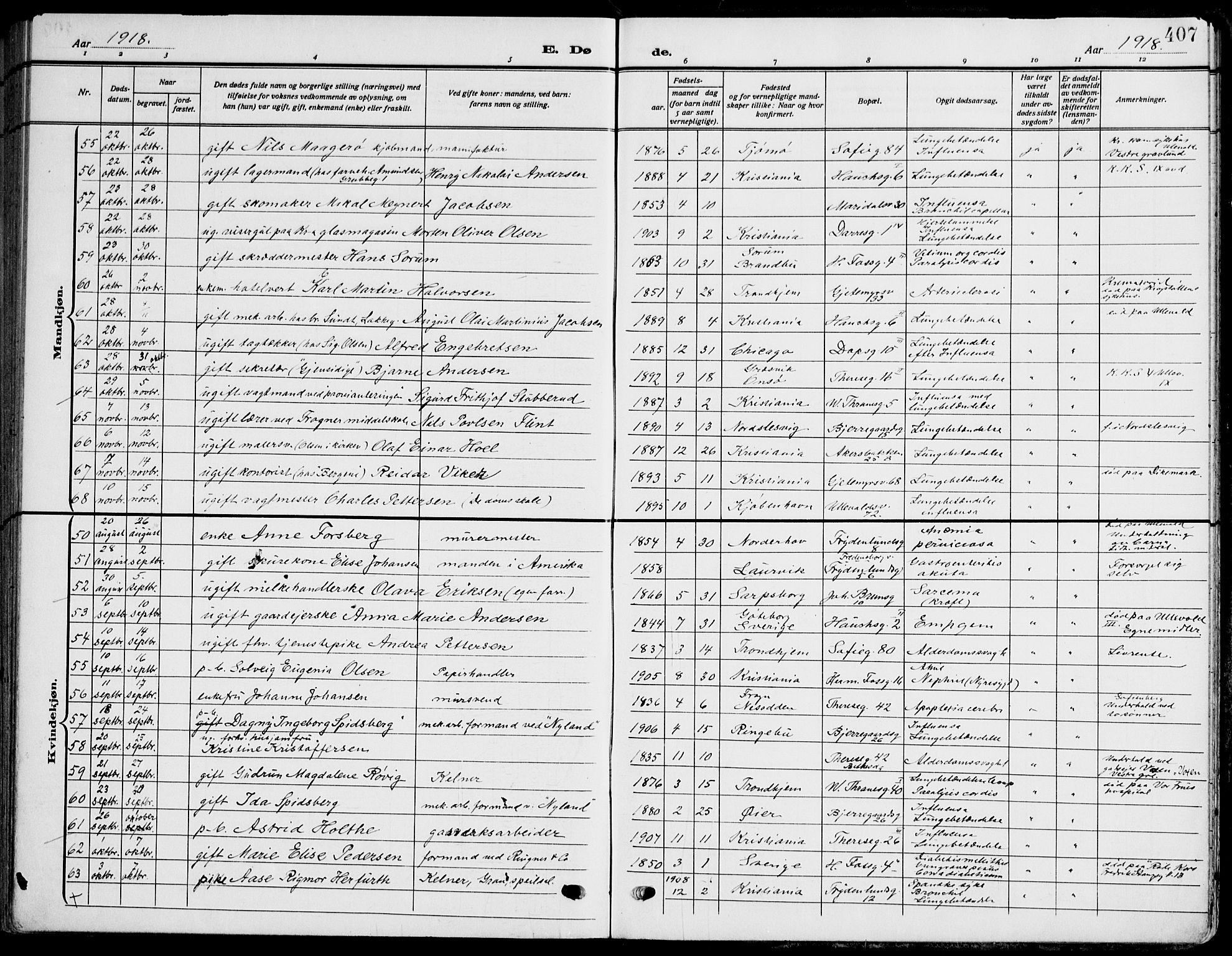 SAO, Gamle Aker prestekontor Kirkebøker, F/L0014: Ministerialbok nr. 14, 1909-1924, s. 407