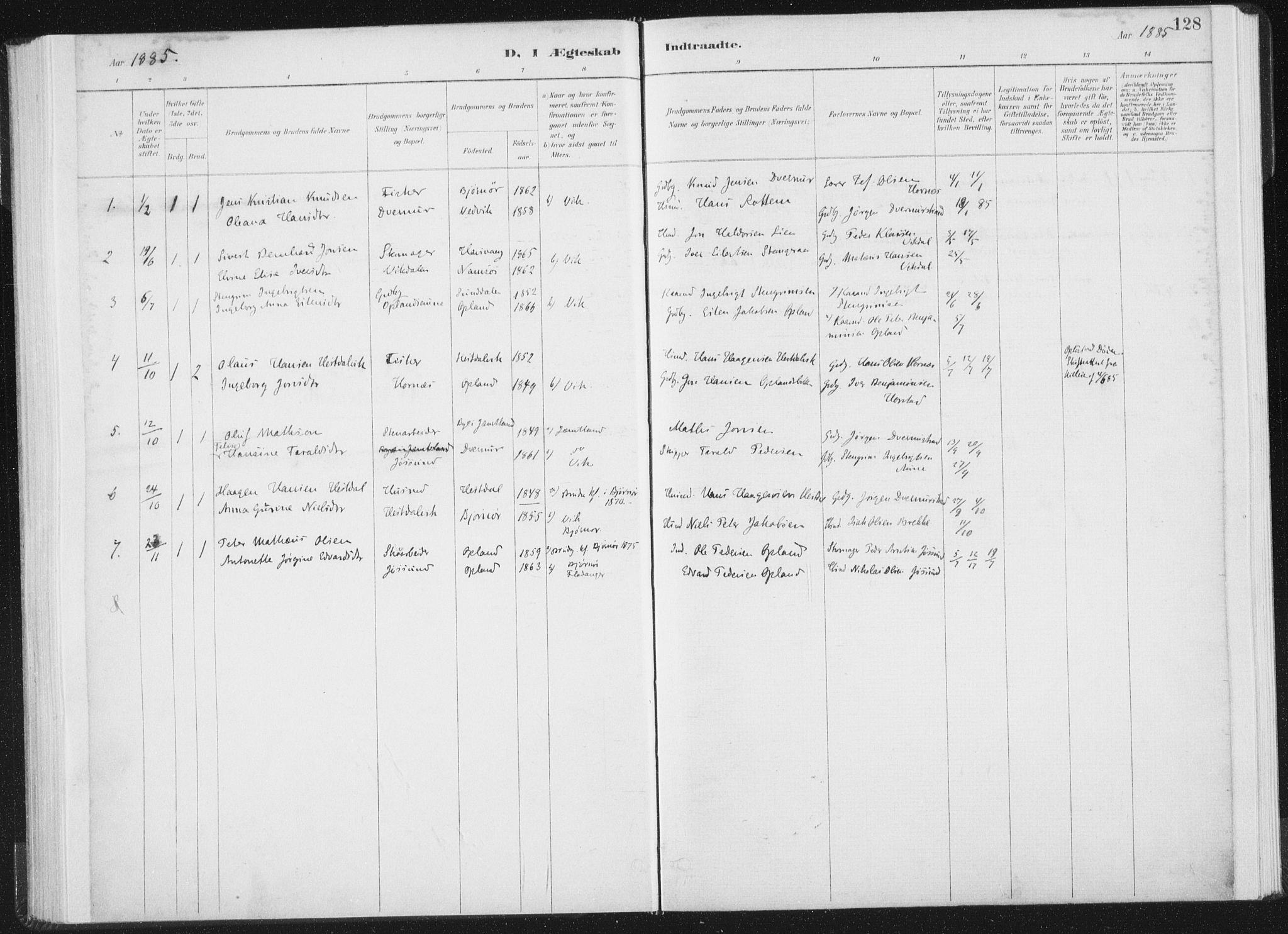 SAT, Ministerialprotokoller, klokkerbøker og fødselsregistre - Nord-Trøndelag, 771/L0597: Ministerialbok nr. 771A04, 1885-1910, s. 128