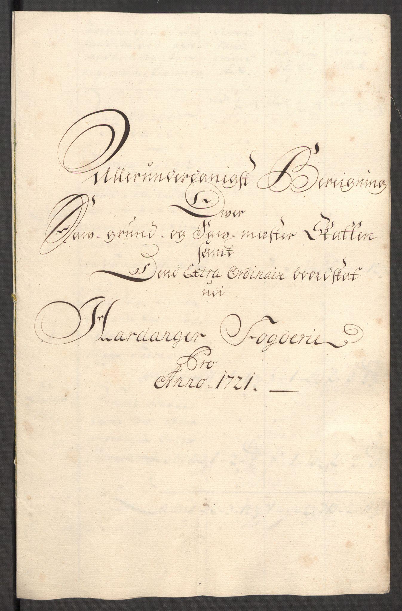 RA, Rentekammeret inntil 1814, Reviderte regnskaper, Fogderegnskap, R48/L3000: Fogderegnskap Sunnhordland og Hardanger, 1721, s. 167