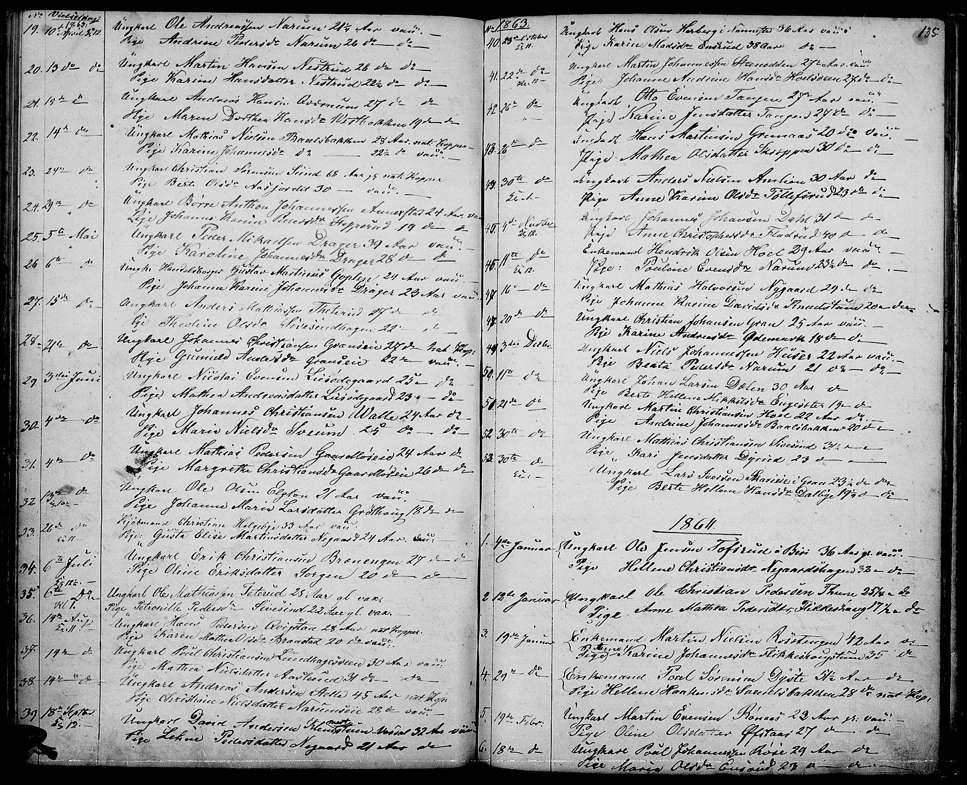 SAH, Vestre Toten prestekontor, Klokkerbok nr. 5, 1854-1870, s. 135