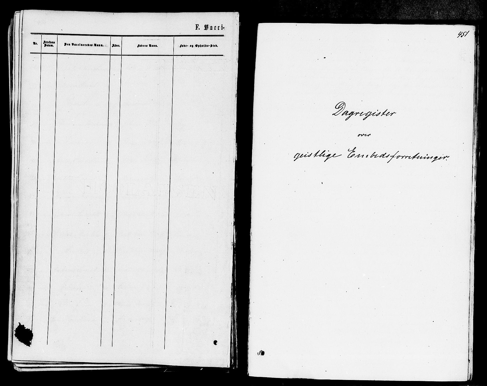 SAKO, Våle kirkebøker, F/Fa/L0010: Ministerialbok nr. I 10, 1861-1877, s. 451