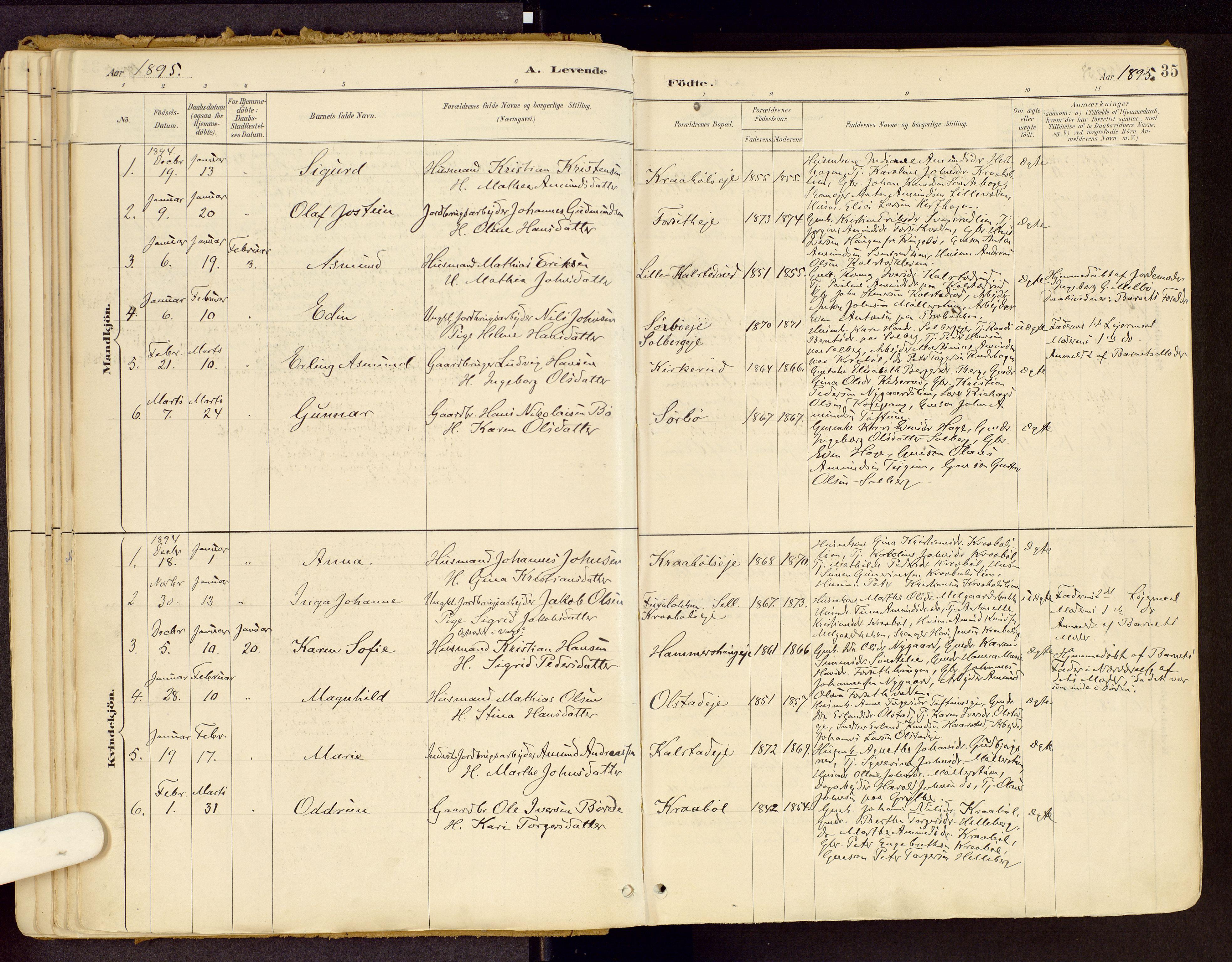 SAH, Vestre Gausdal prestekontor, Ministerialbok nr. 1, 1887-1914, s. 35